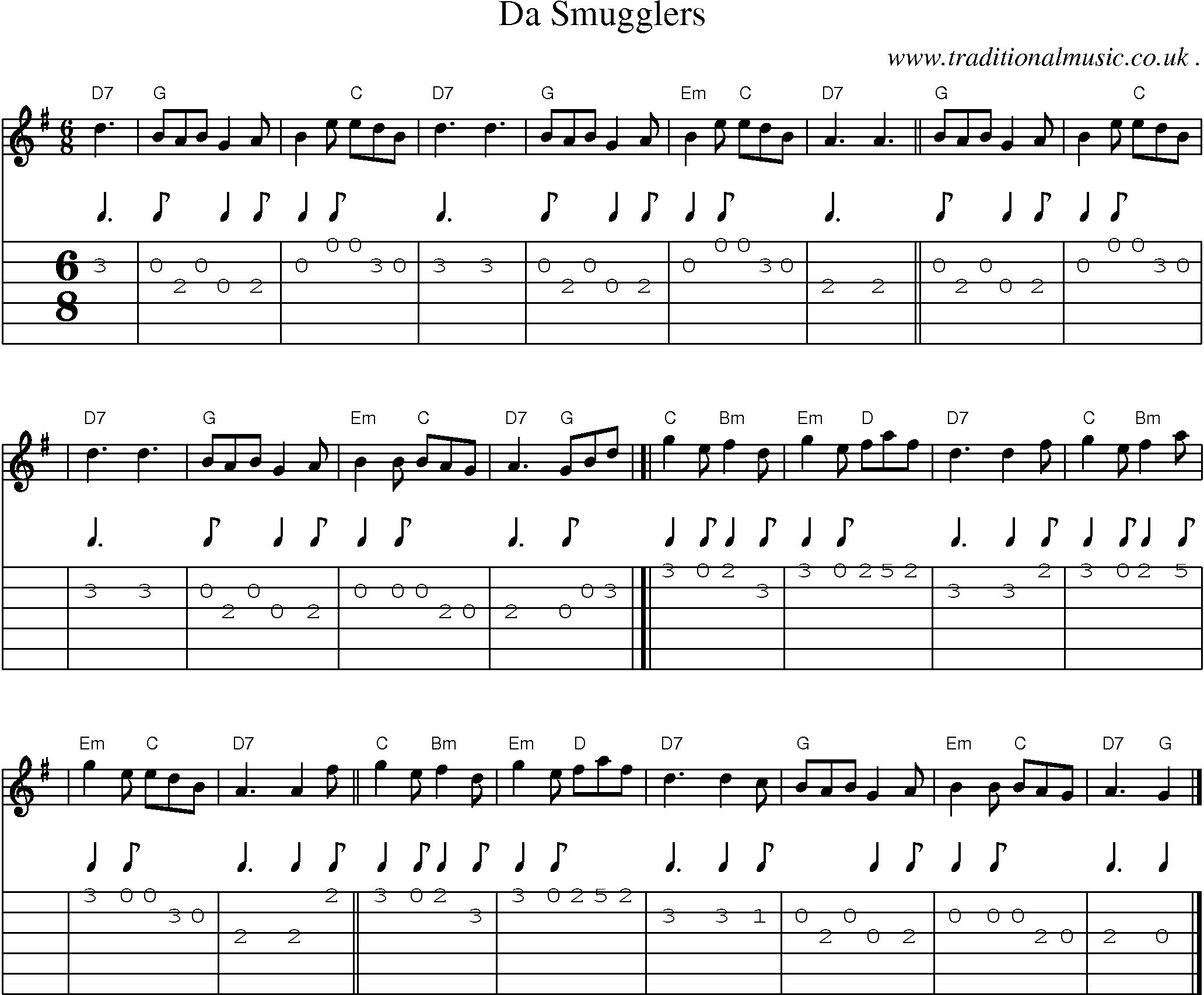 Scottish Tune, Sheetmusic, Midi, Mp3, Guitar chords u0026 tabs: Da Smugglers