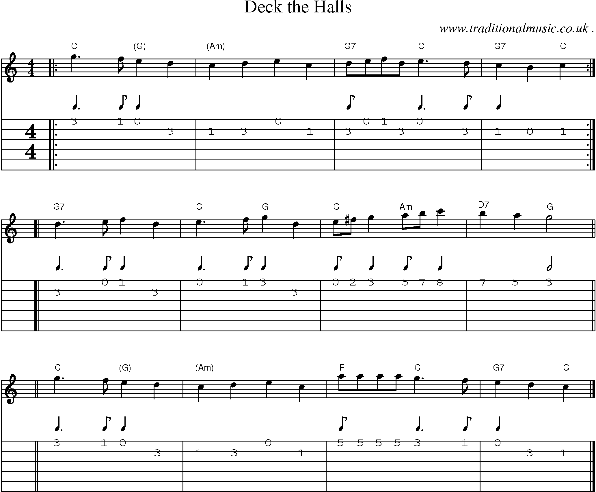 sheet music score chords and guitar tabs for deck the halls