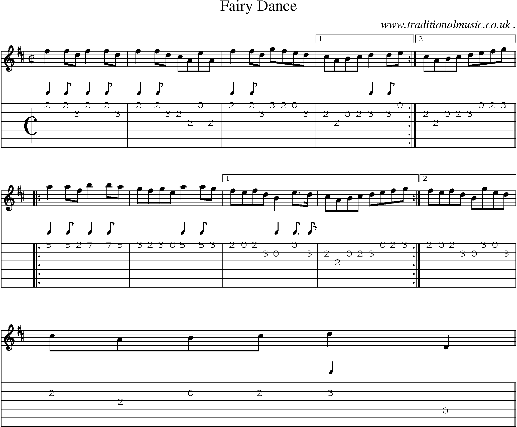 Scottish tune sheetmusic midi mp3 guitar chords tabs fairy sheet music score chords and guitar tabs for fairy dance hexwebz Images