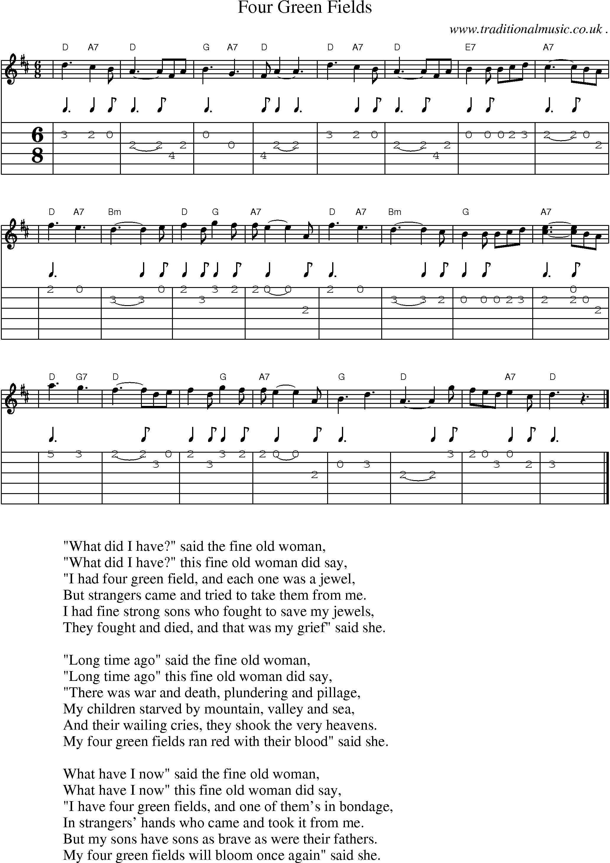 four green fields chords