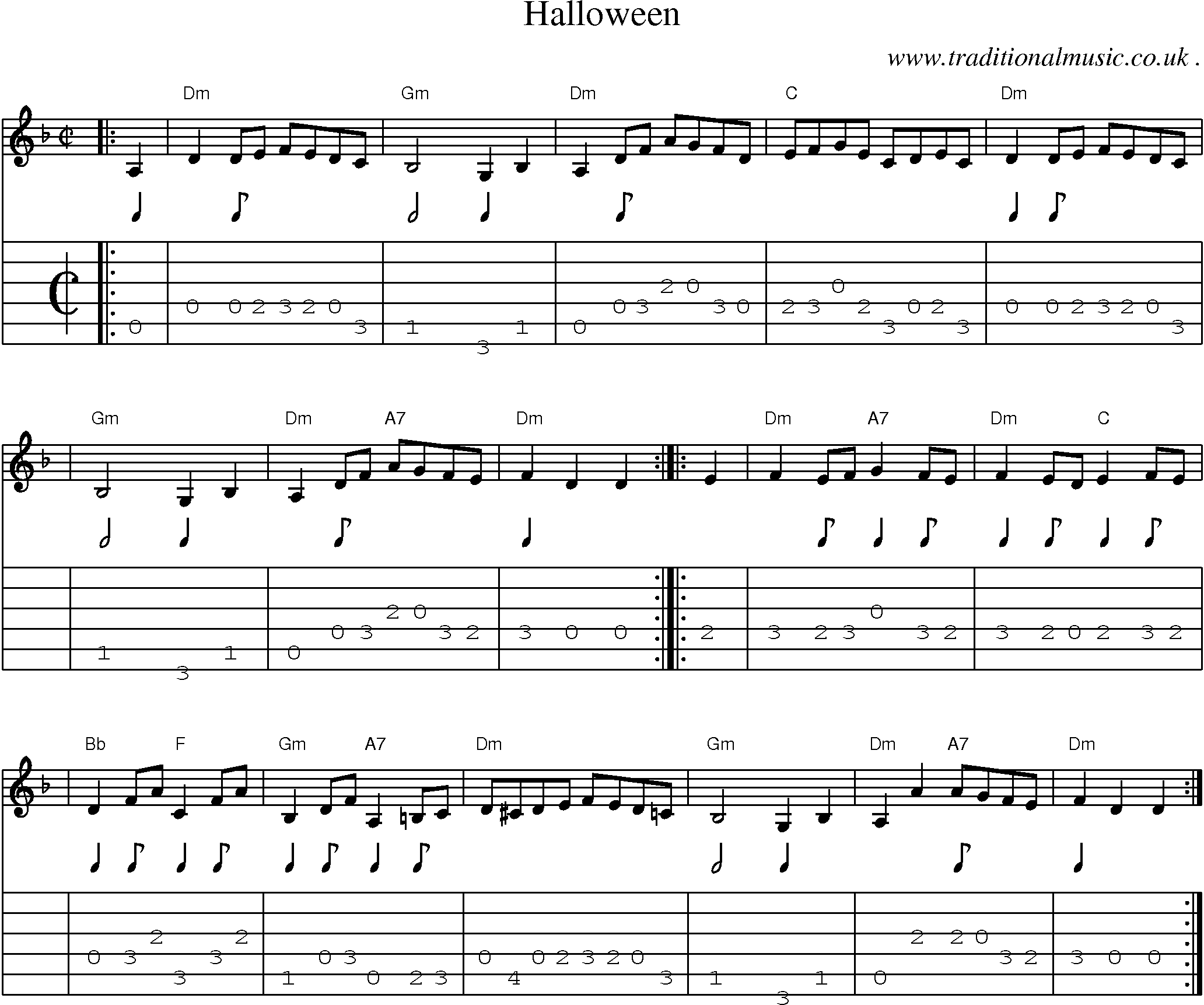 sheet music score chords and guitar tabs for halloween