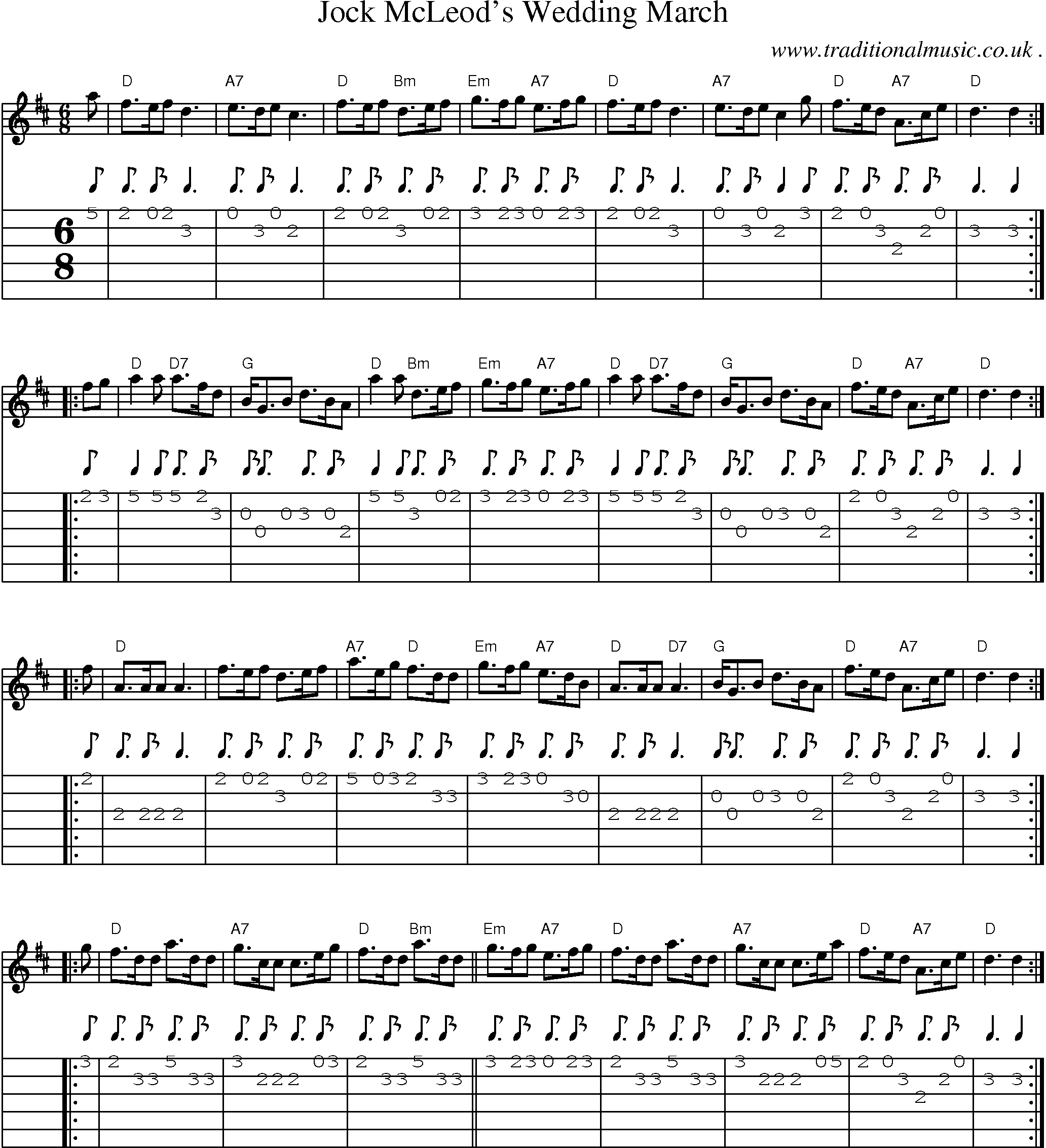 Sheet Music Score Chords And Guitar Tabs For Jock Mcleods Wedding March
