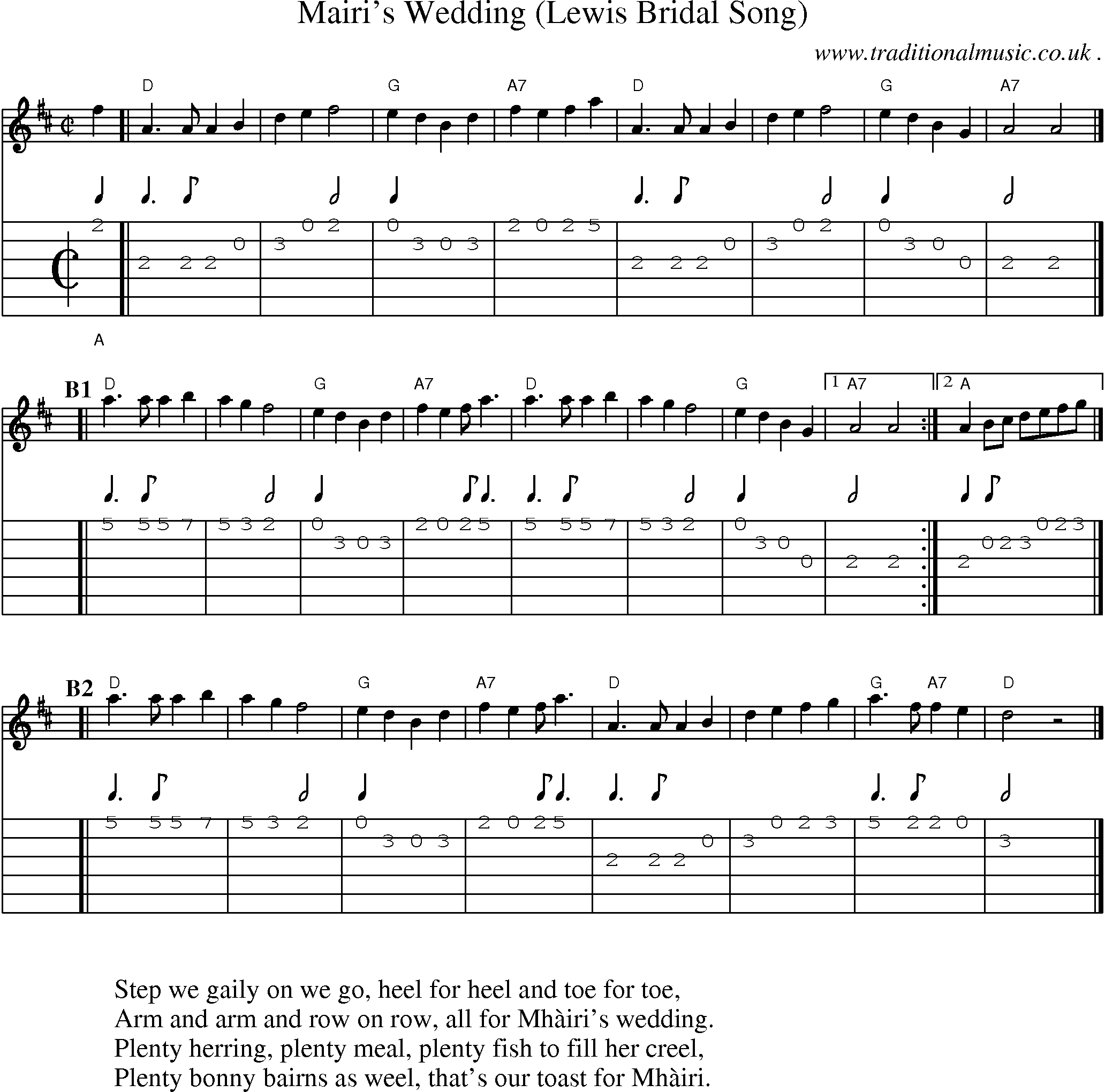 ... score, Chords and Guitar Tabs for Mairis Wedding Lewis Bridal Song