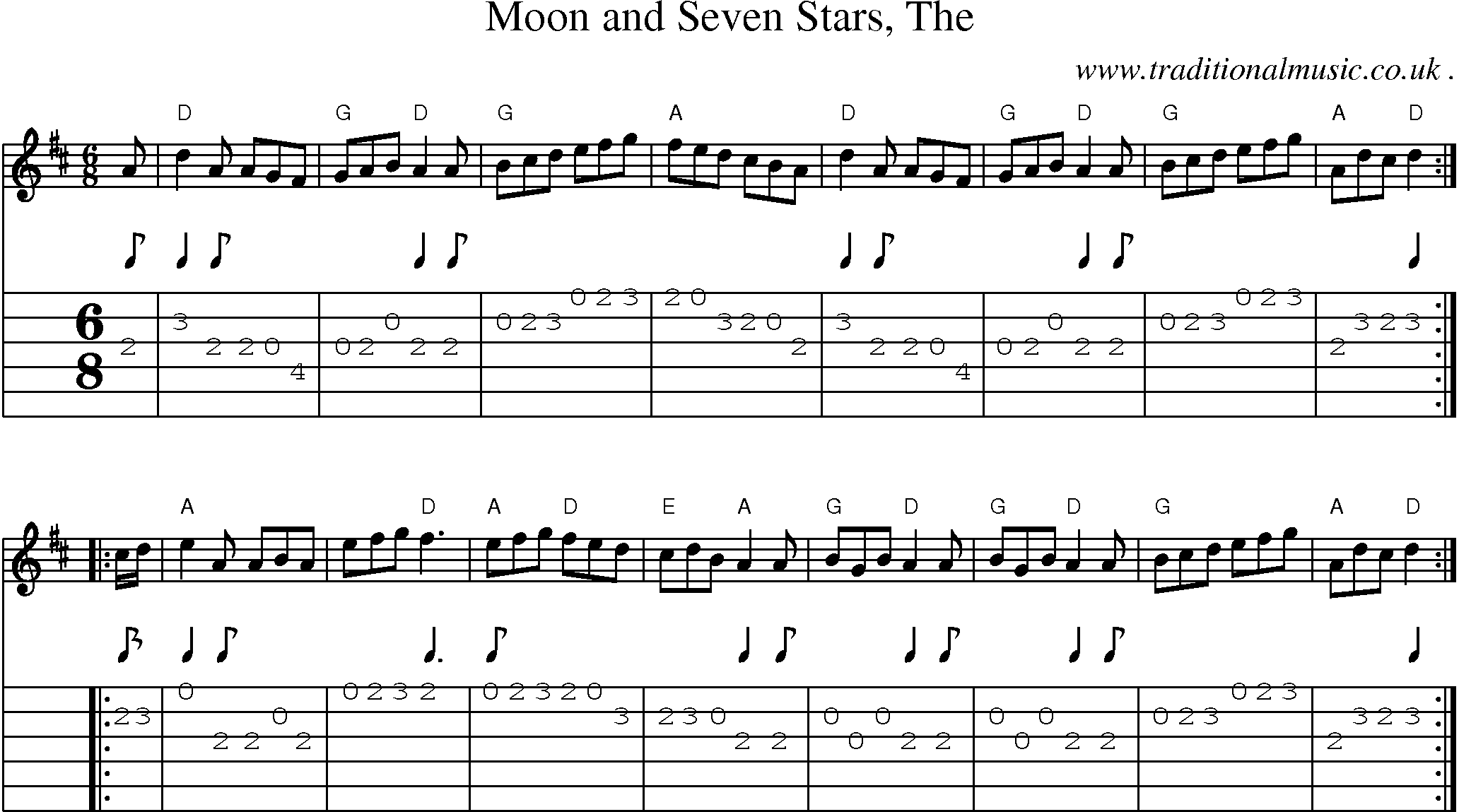 Scottish tune sheetmusic midi mp3 guitar chords tabs moon sheet music score chords and guitar tabs for moon and seven stars the hexwebz Gallery