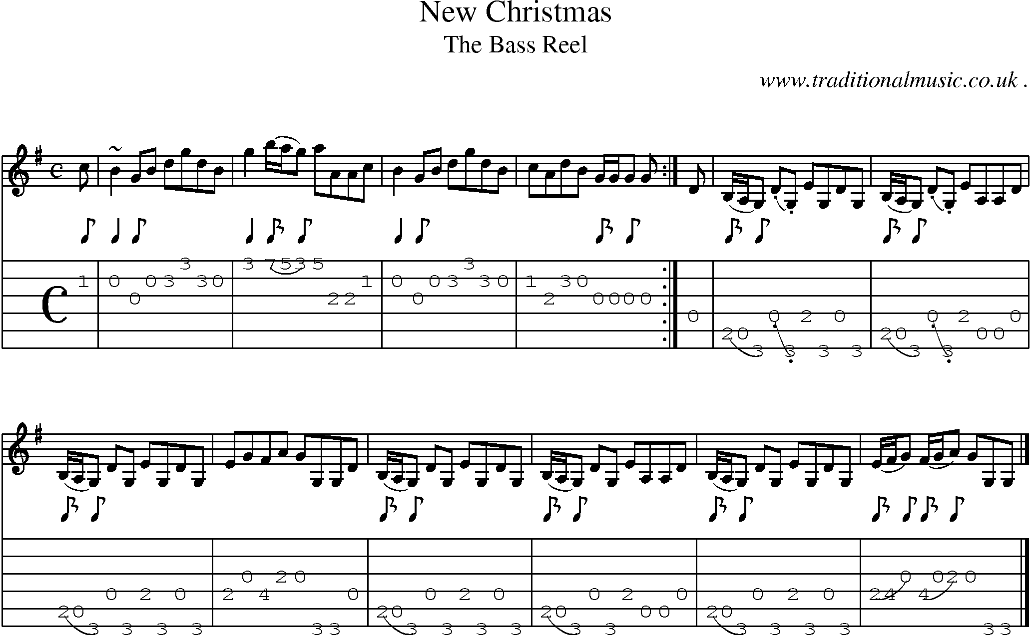 Scottish Tune, Sheetmusic, Midi, Mp3, Guitar chords u0026 tabs: New Christmas