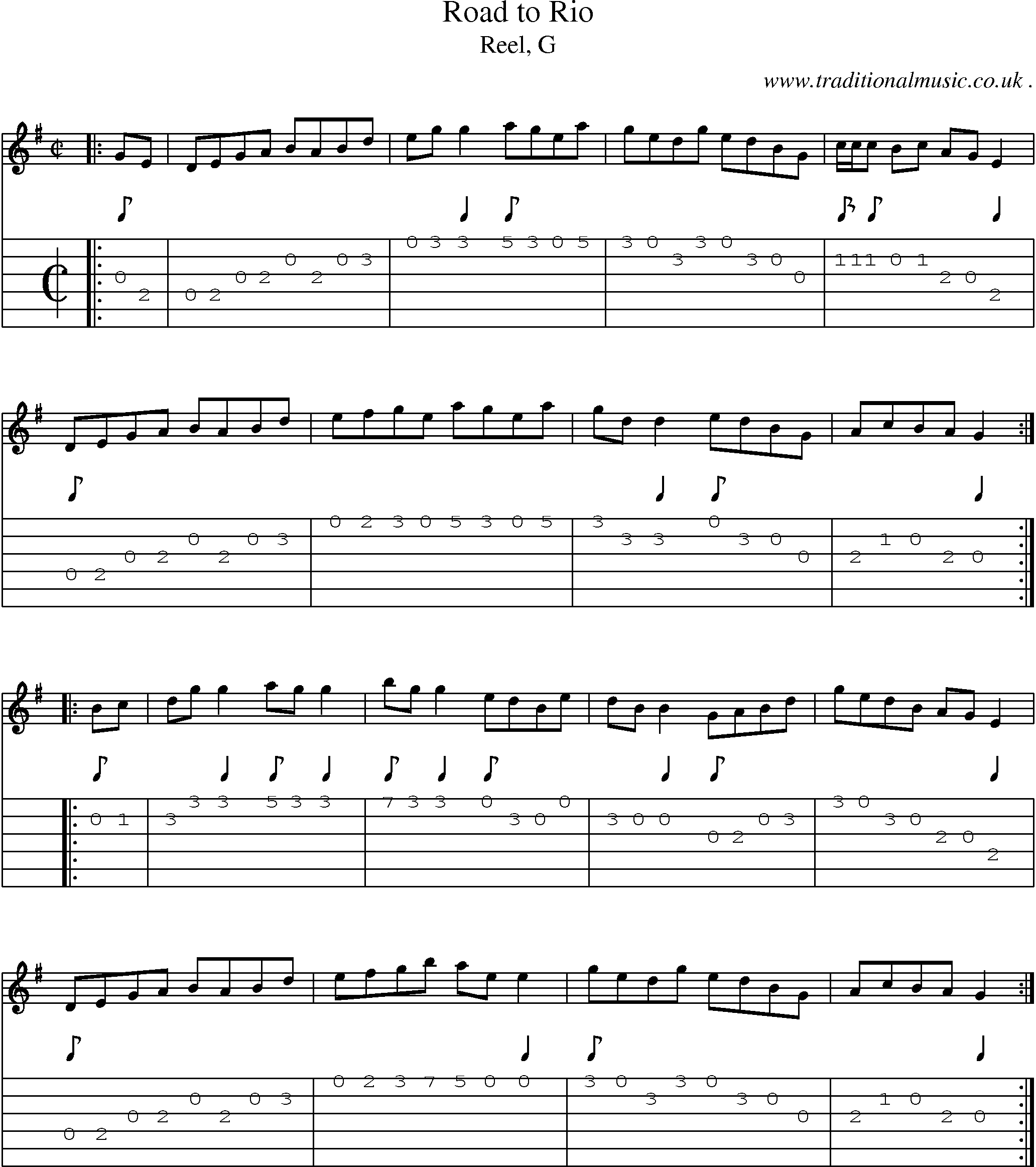 Sheet-music score, Chords and Guitar Tabs for Road To Rio