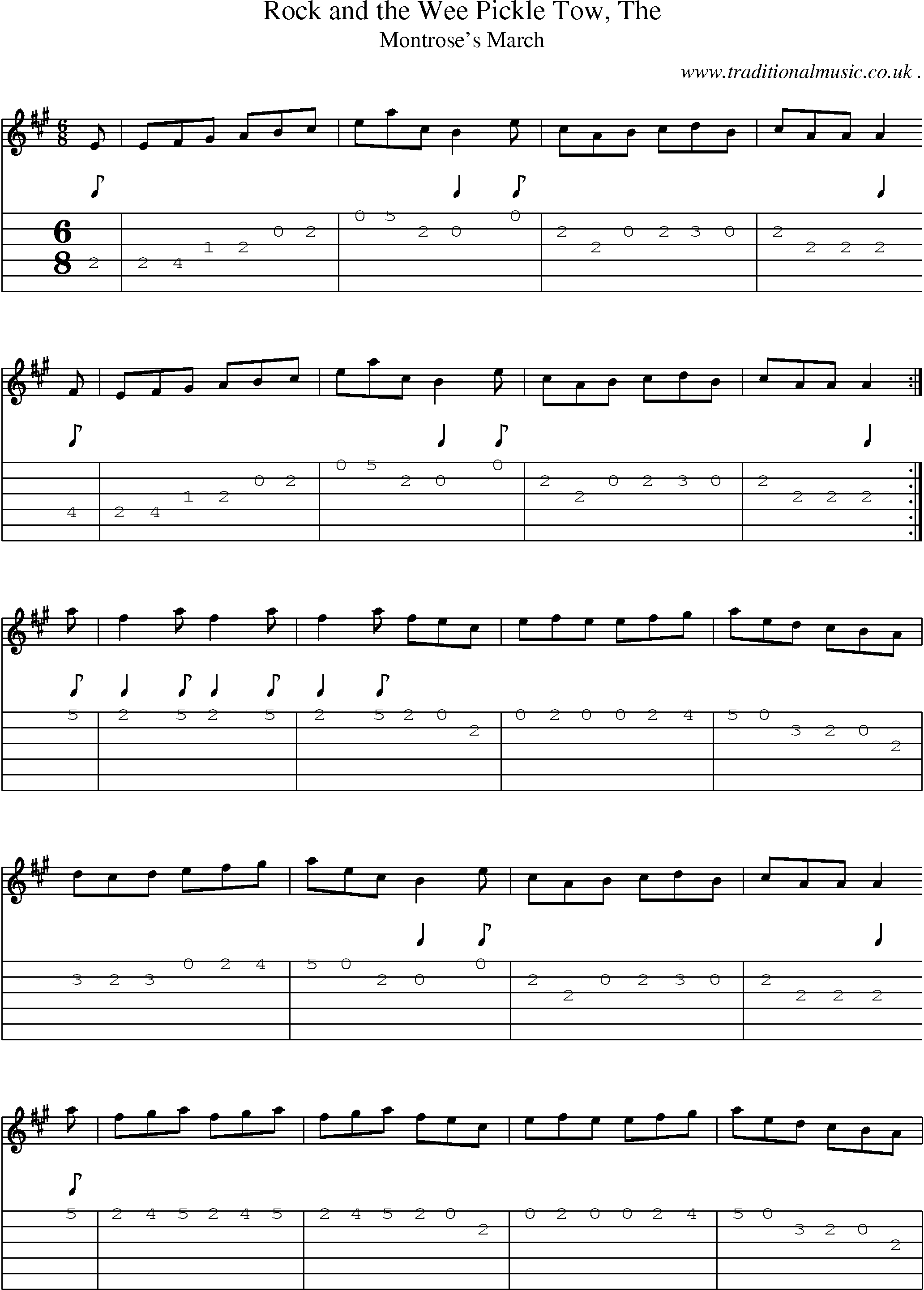 Scottish Tune, Sheetmusic, Midi, Mp3, Guitar chords u0026 tabs: Rock And The Wee Pickle Tow The
