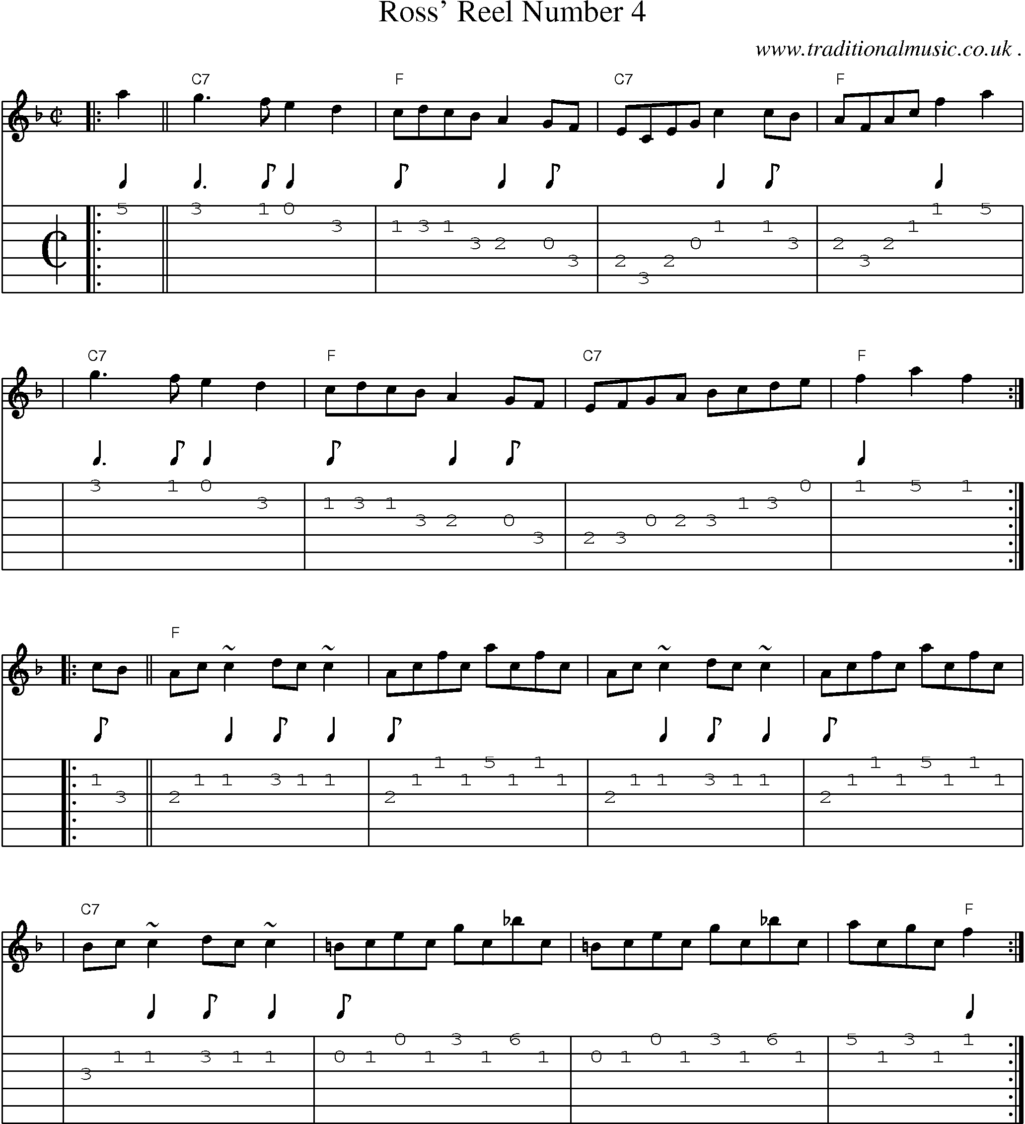Scottish Tune, Sheetmusic, Midi, Mp3, Guitar chords u0026 tabs: Ross Reel Number 4