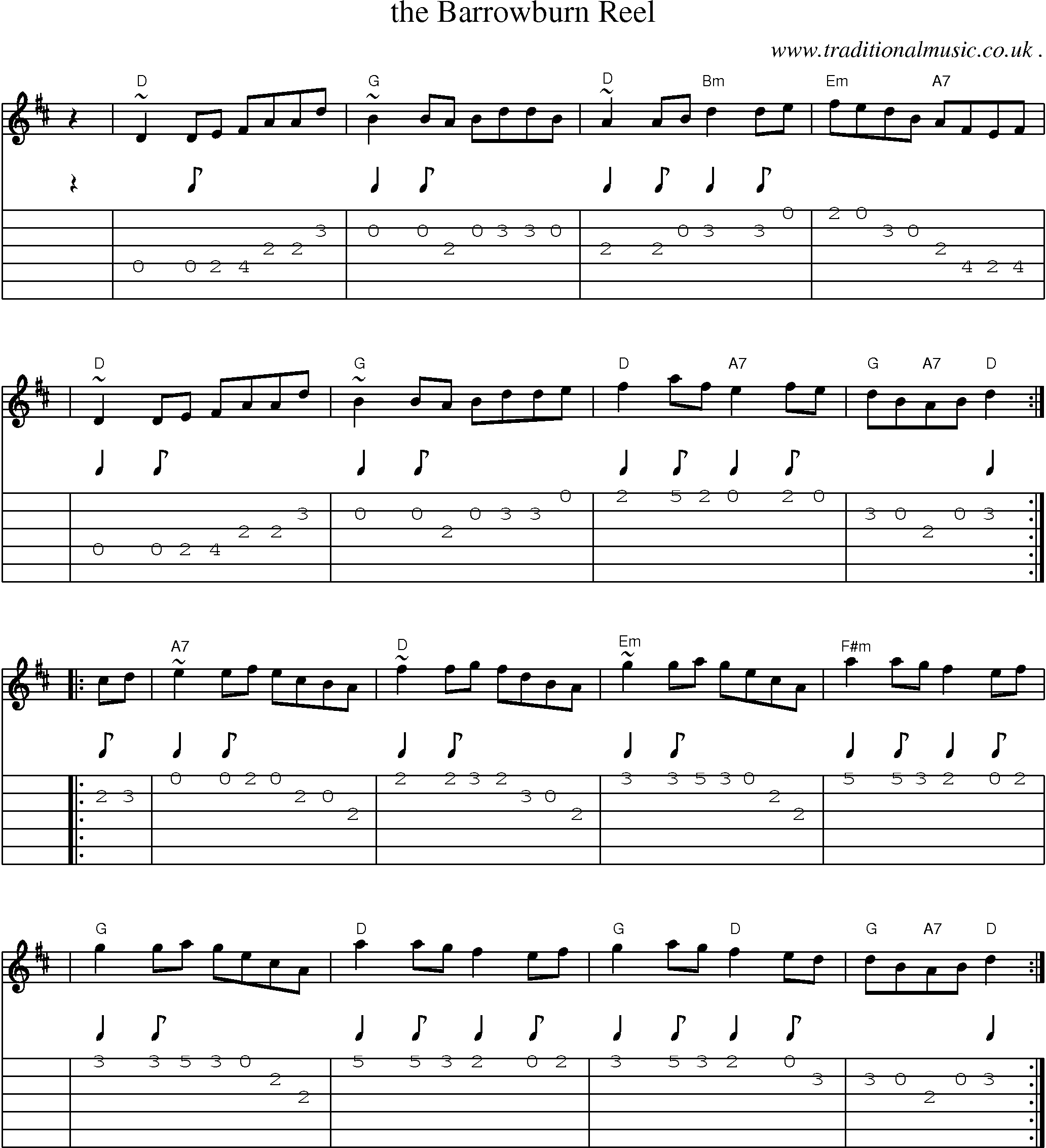 Scottish tune sheetmusic midi mp3 guitar chords tabs the sheet music score chords and guitar tabs for the barrowburn reel hexwebz Images