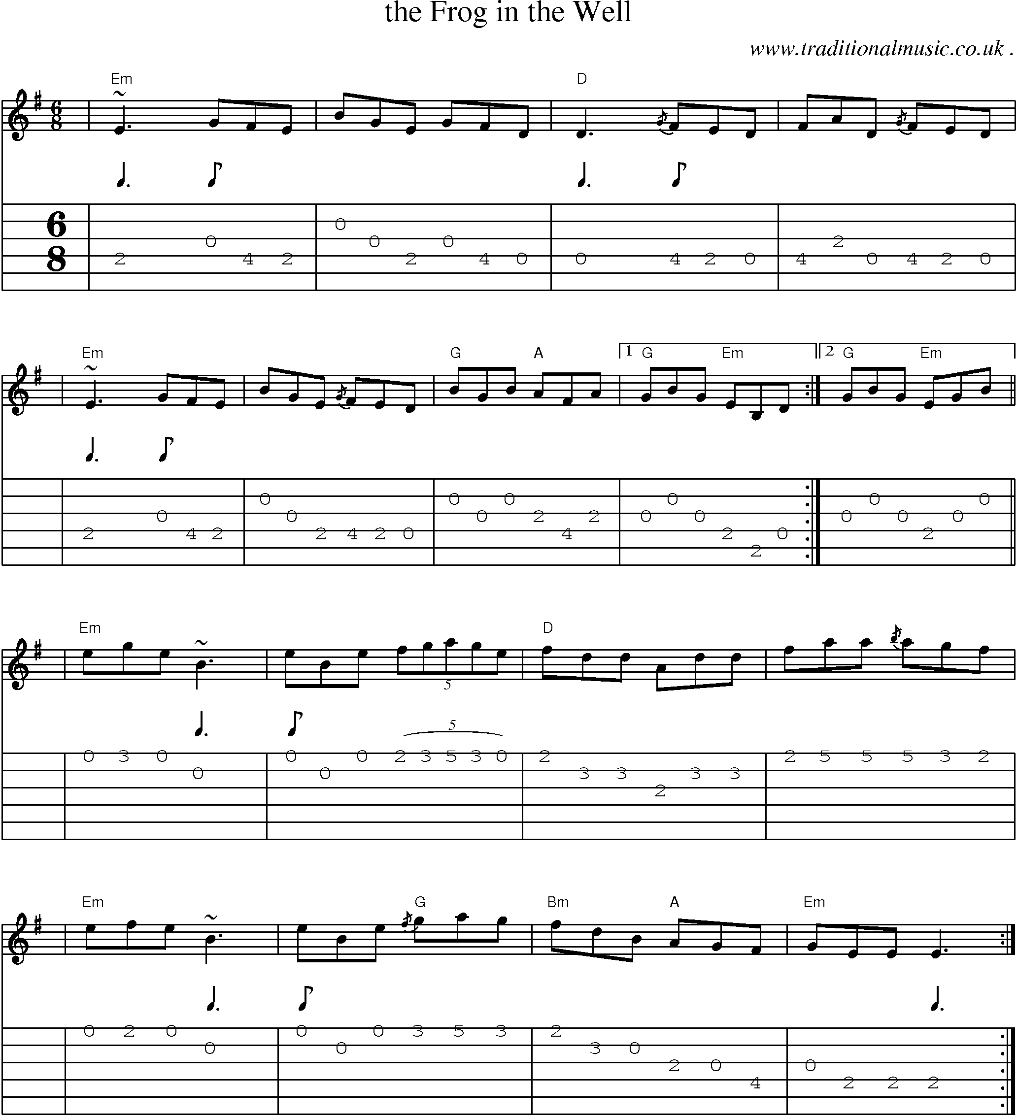 Scottish tune sheetmusic midi mp3 guitar chords tabs the sheet music score chords and guitar tabs for the frog in the well hexwebz Gallery