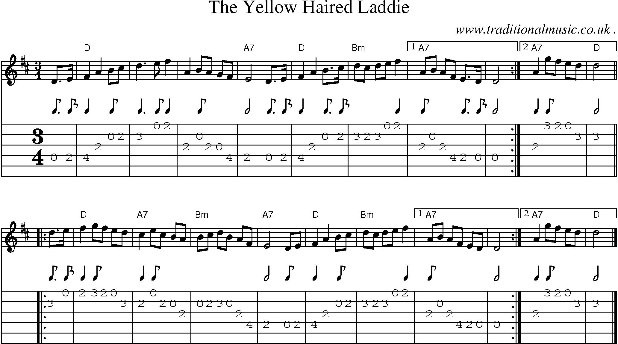 Scottish Tune, Sheetmusic, Midi, Mp3, Guitar chords u0026 tabs: The Yellow Haired Laddie