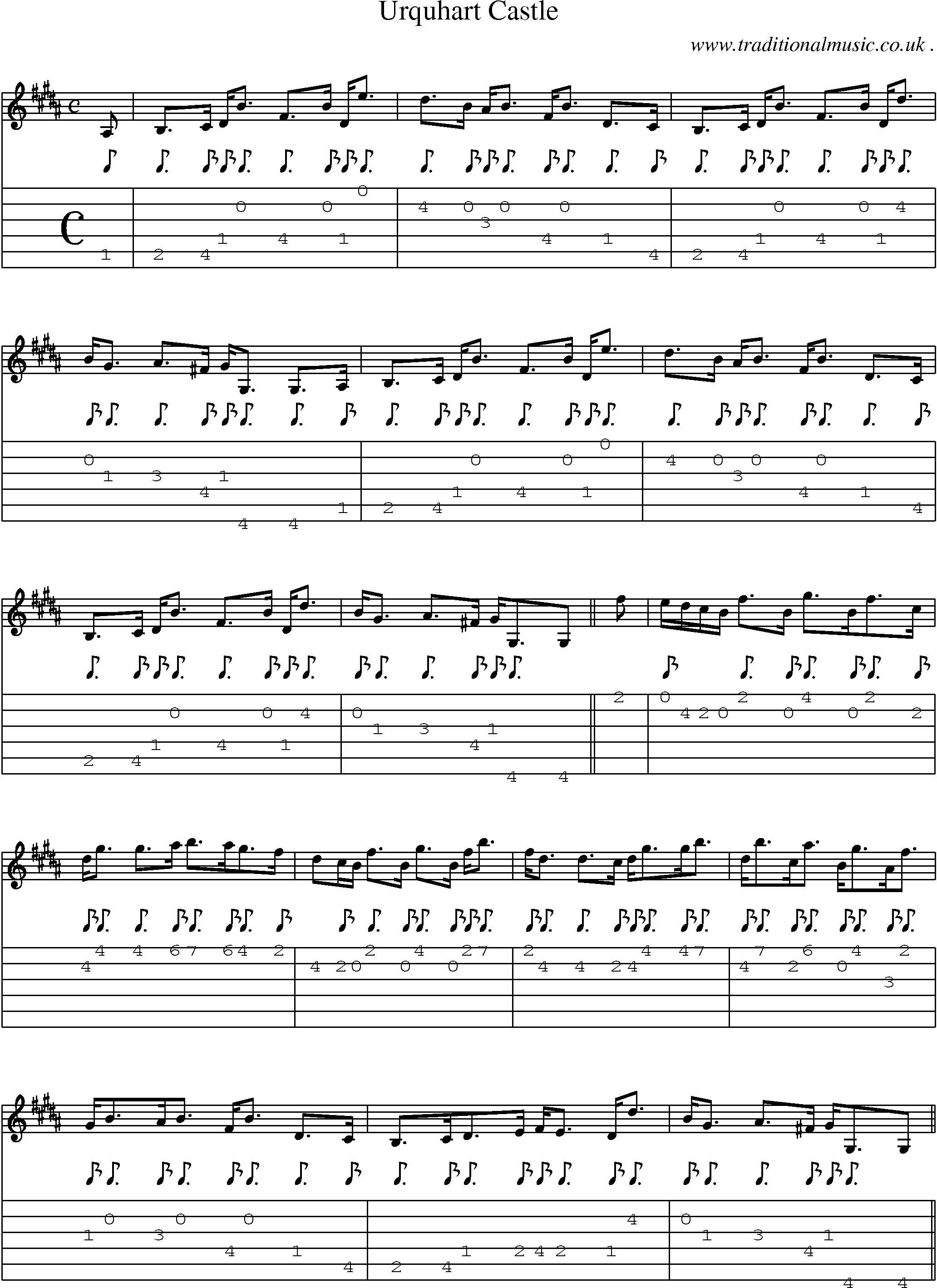 Scottish Tune Sheetmusic Midi Mp3 Guitar Chords Tabs Urquhart