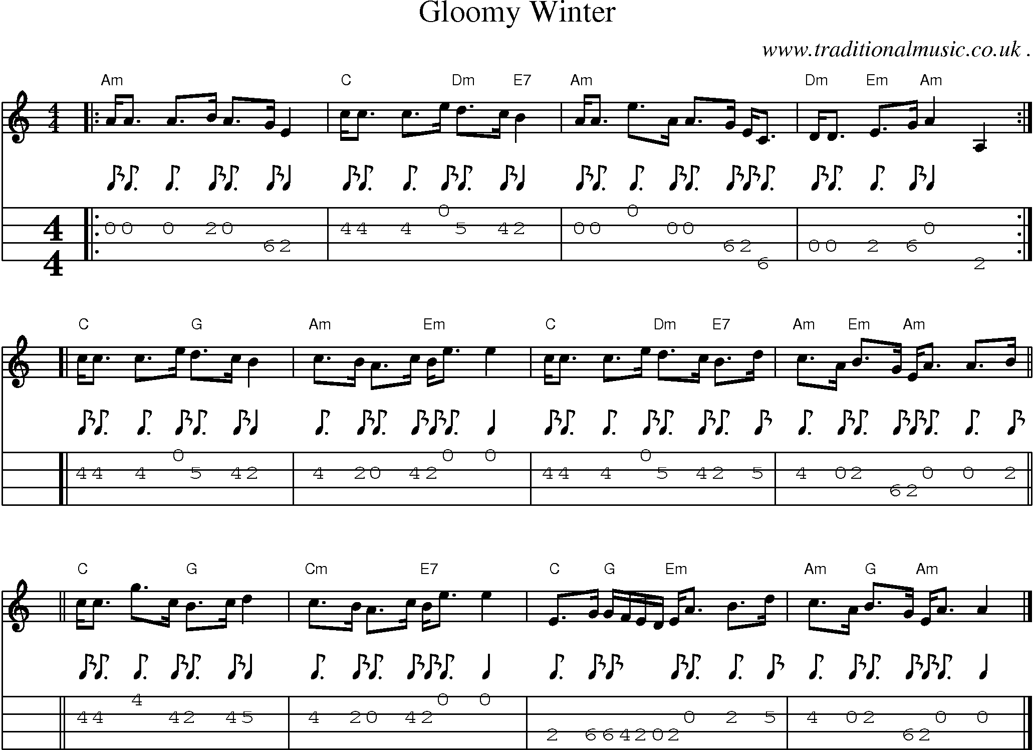 Scottish Tune, Sheetmusic, Midi, Mp3, Mandolin Tab and PDF for: Gloomy Winter