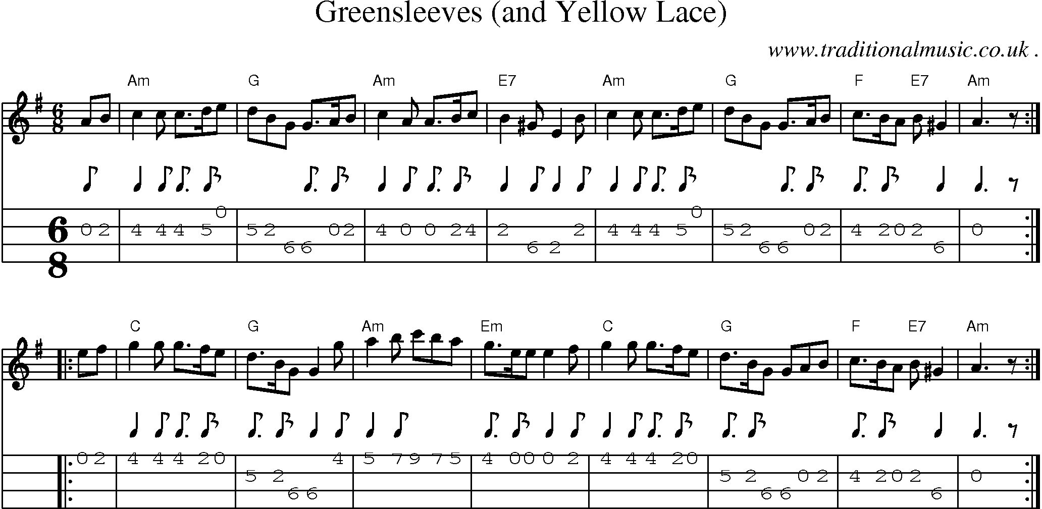 Scottish Tune, Sheetmusic, Midi, Mp3, Mandolin Tab and PDF for: Greensleeves And Yellow Lace