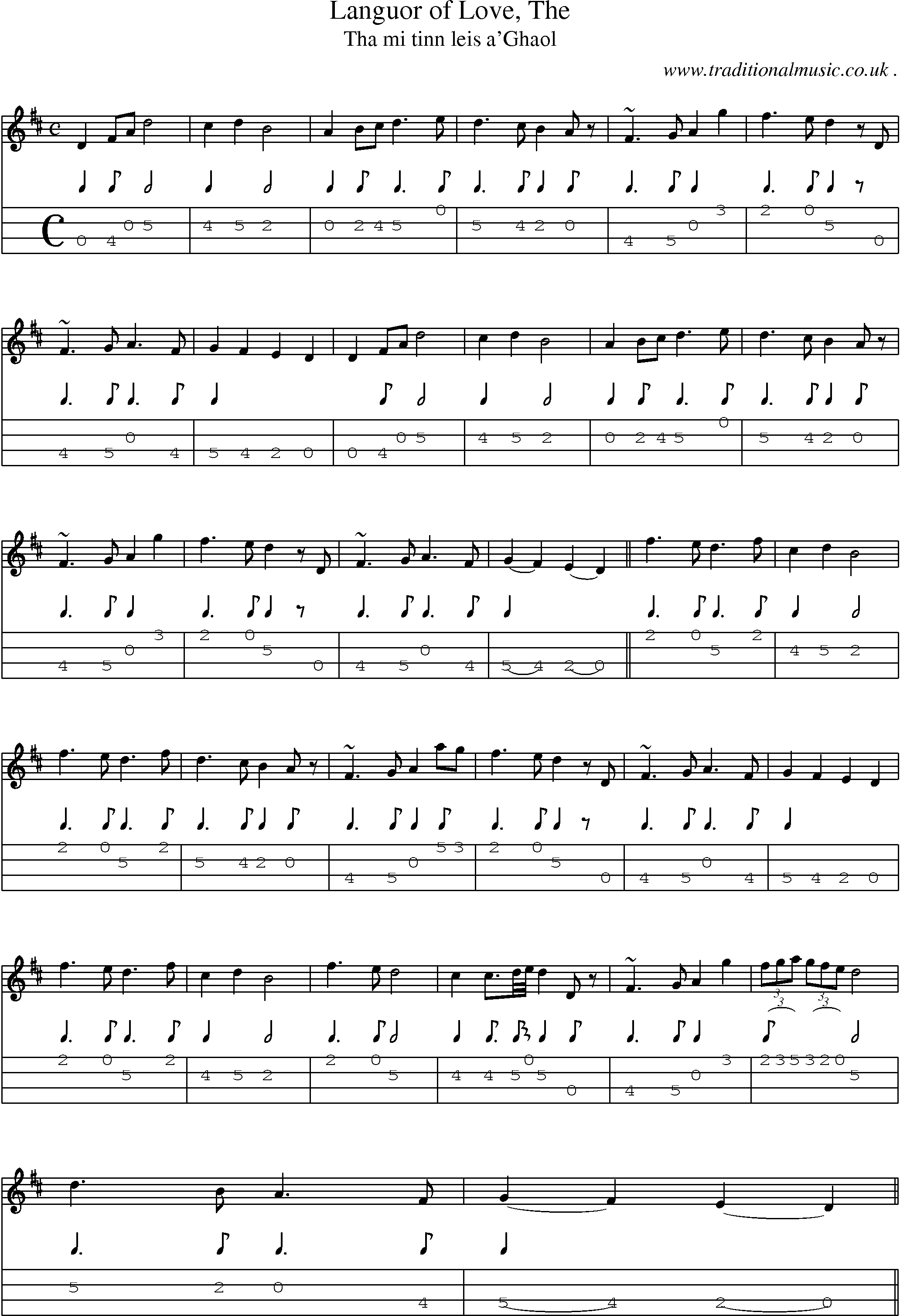 Scottish Tune, Sheetmusic, Midi, Mp3, Mandolin Tab and PDF for: Languor Of Love The