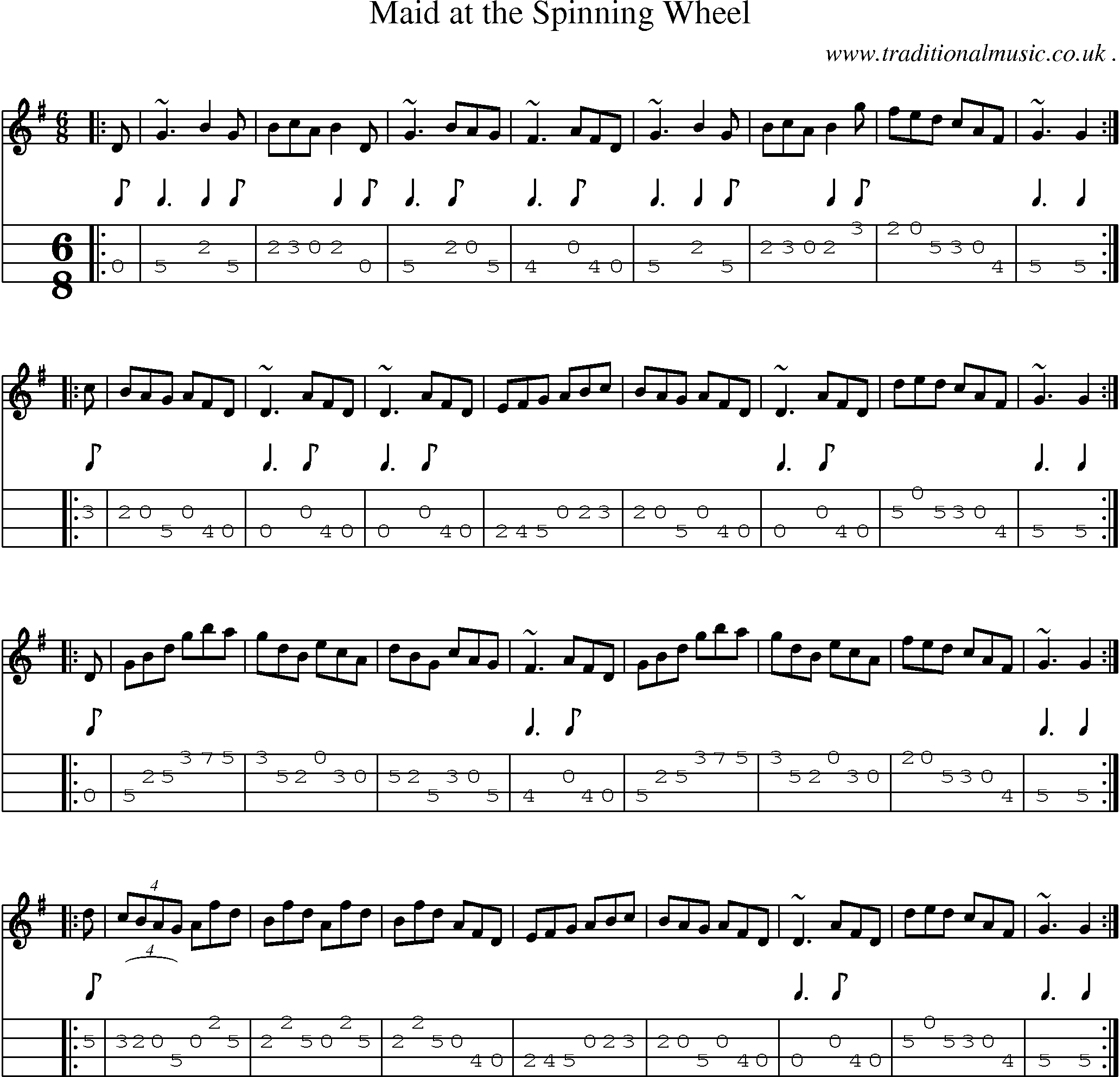 Scottish Tune, Sheetmusic, Midi, Mp3, Mandolin Tab and PDF for: Maid At The Spinning Wheel