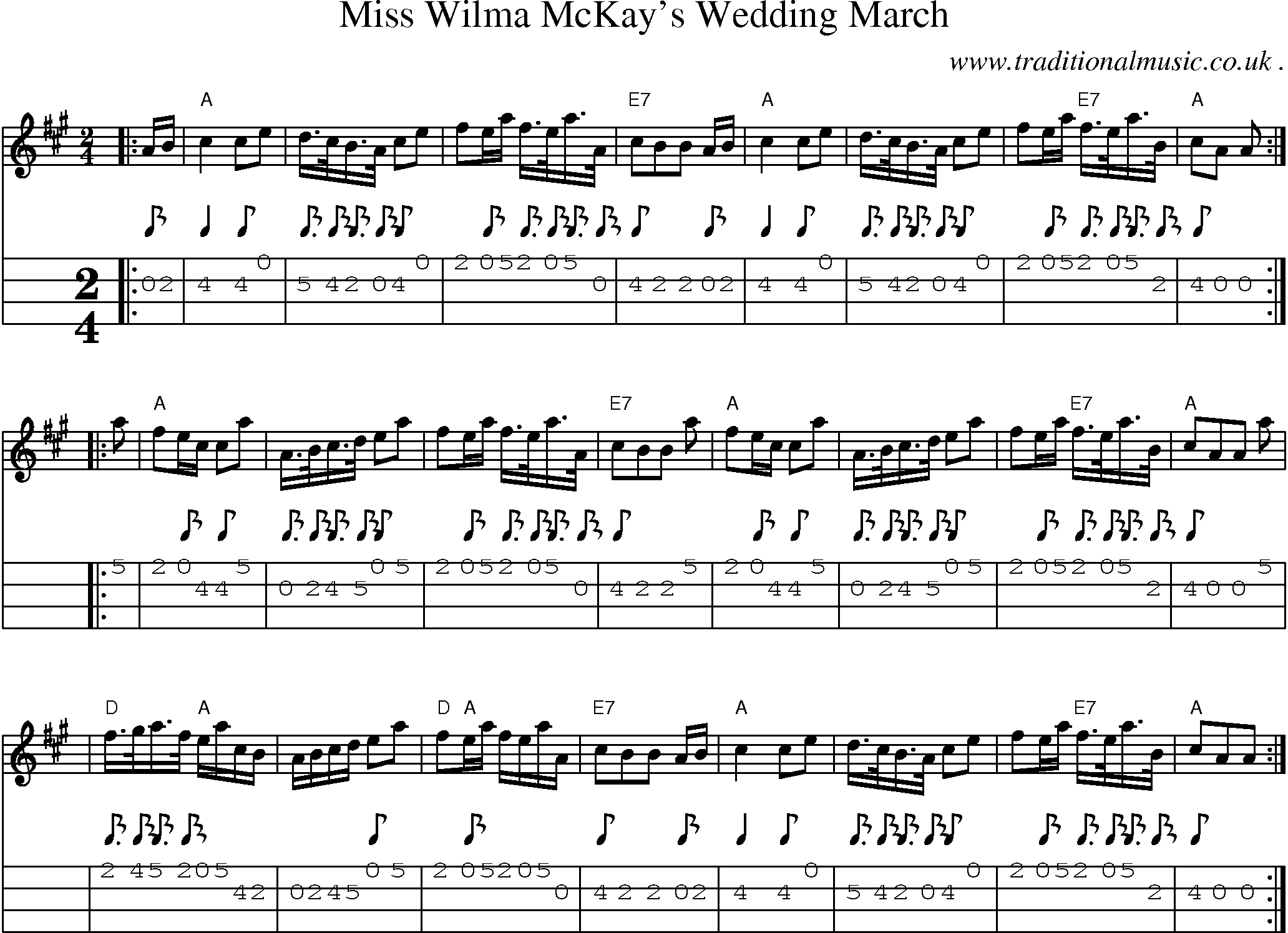 Sheet Music Score Chords And Mandolin Tabs For Miss Wilma Mckays Wedding March