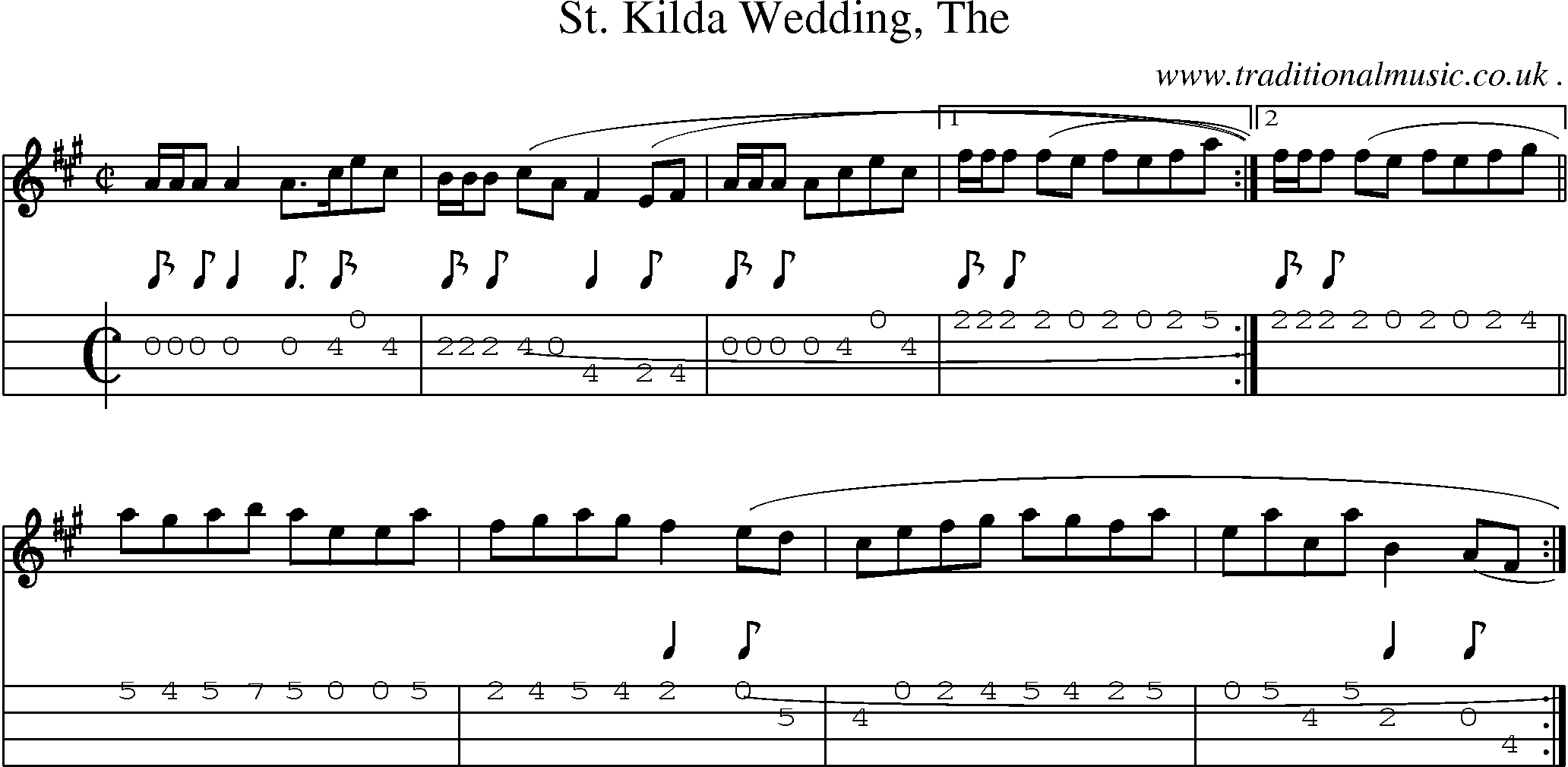 Sheet Music Score Chords And Mandolin Tabs For St Kilda Wedding The