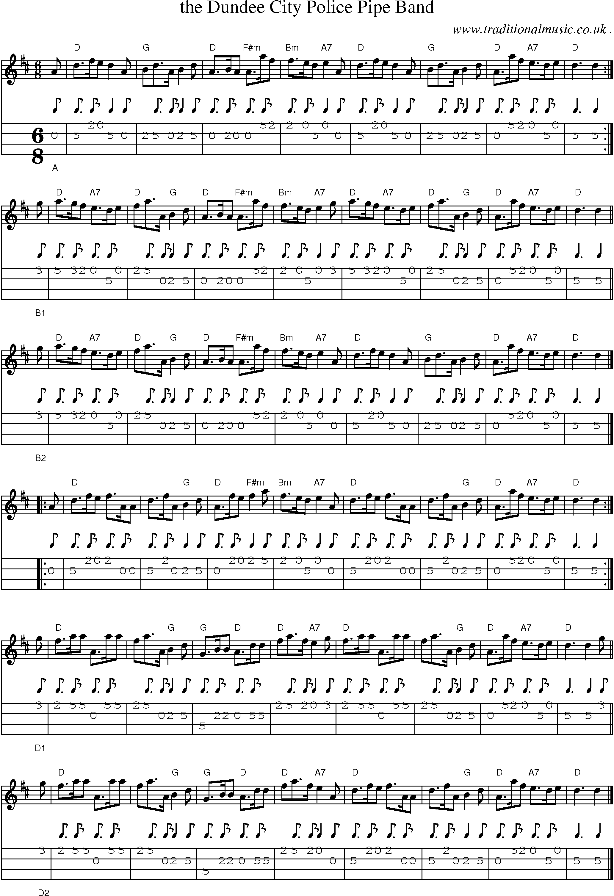 Scottish Tune, Sheetmusic, Midi, Mp3, Mandolin Tab and PDF for: The Dundee City Police Pipe Band