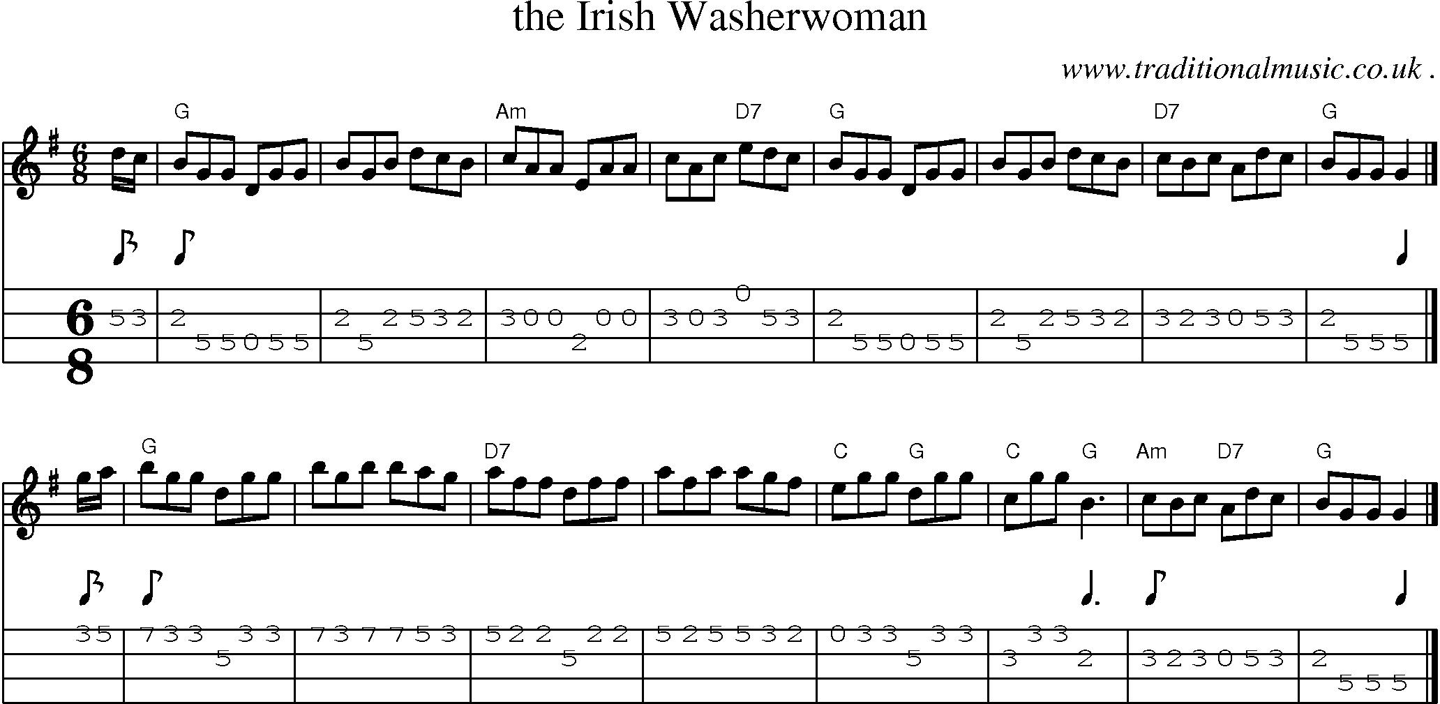 Scottish Tune, Sheetmusic, Midi, Mp3, Mandolin Tab and PDF for: The Irish Washerwoman