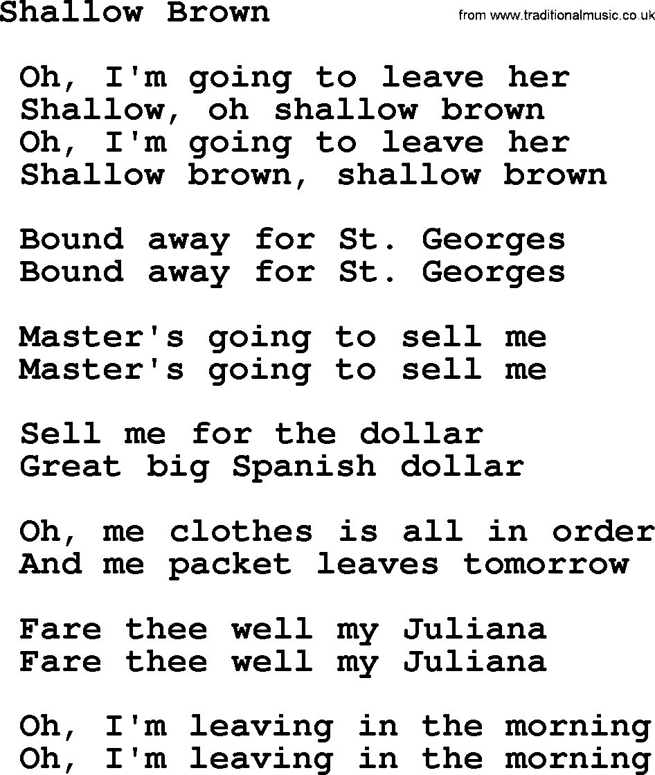 Shallow Brown - Sea Song or Shantie lyrics