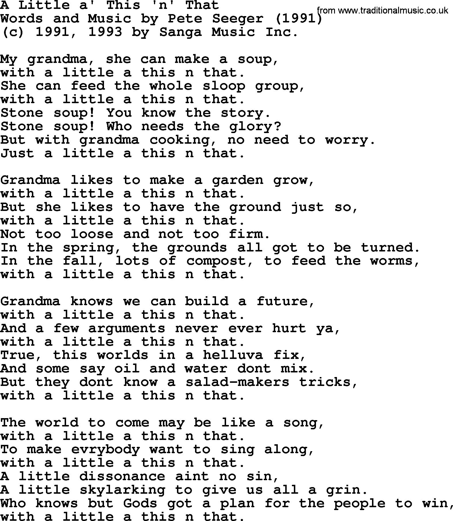 Pete Seeger Song A Little A This N That Lyrics