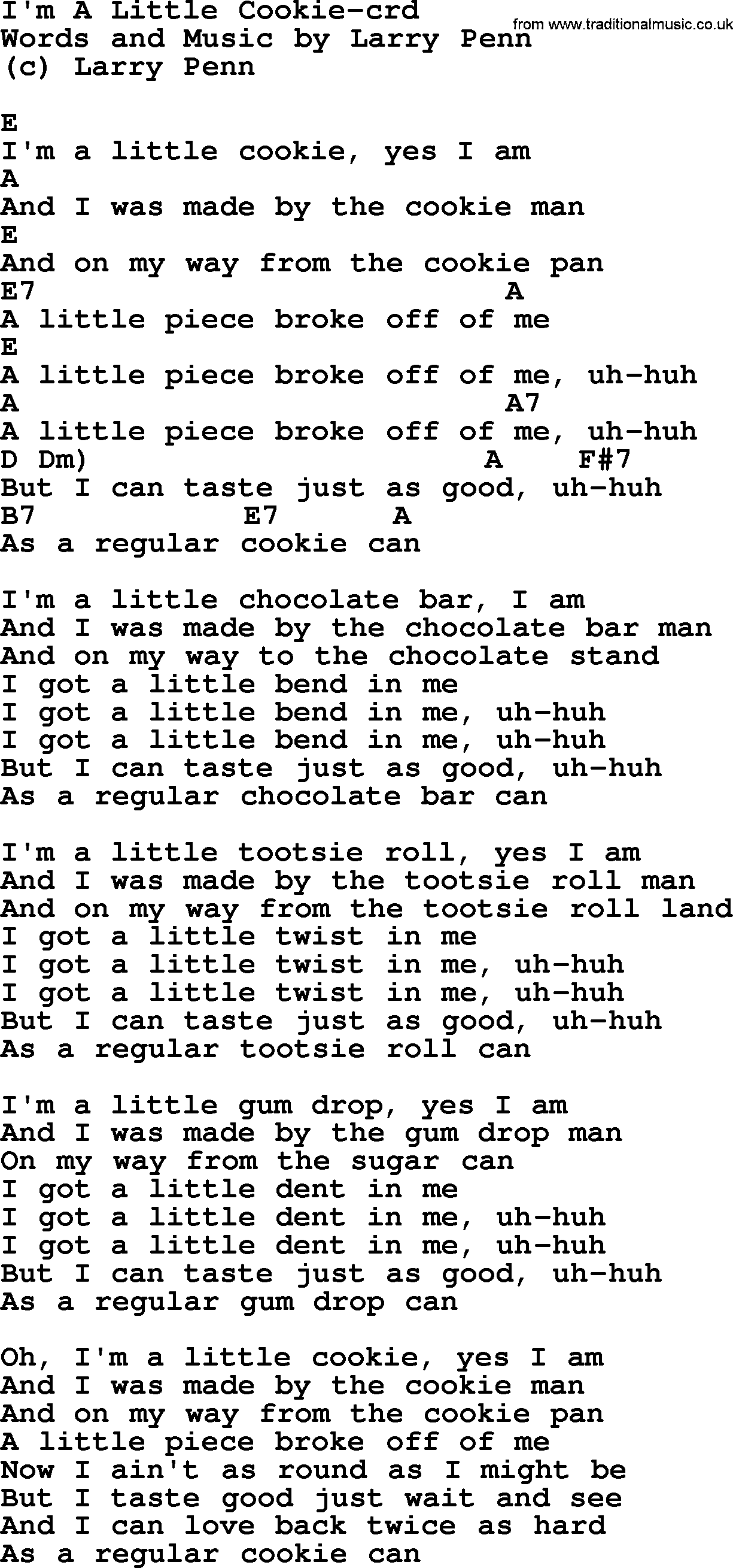 Pete Seeger song - I'm A Little Cookie, lyrics and chords