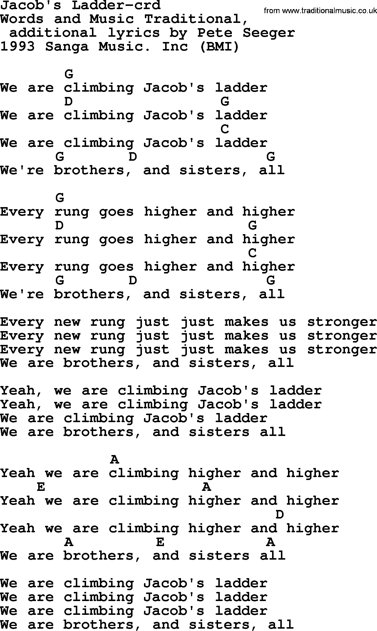 Pete Seeger Song Jacobs Ladder Lyrics And Chords