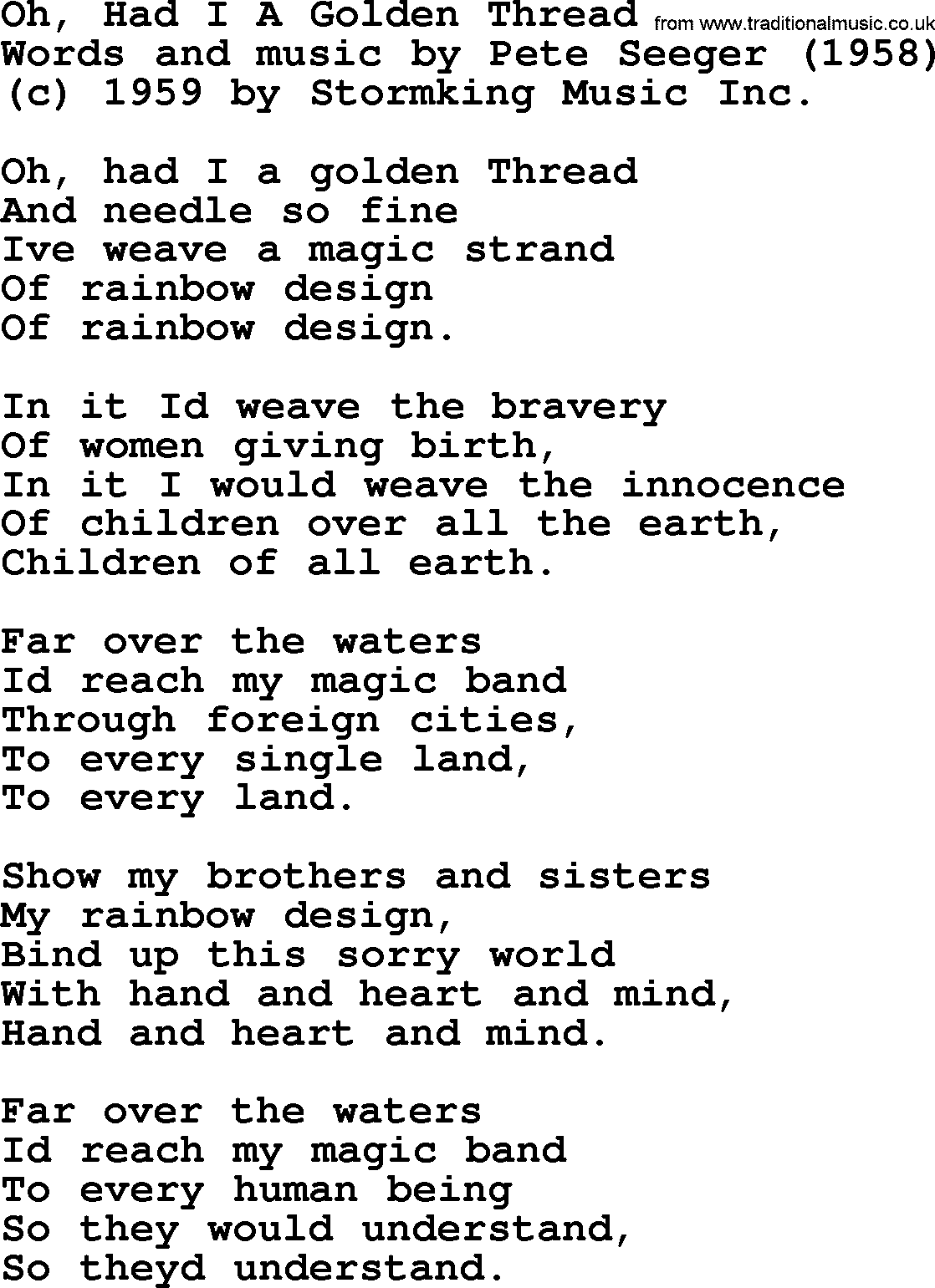 A Song for Pete Seeger The Golden Thread