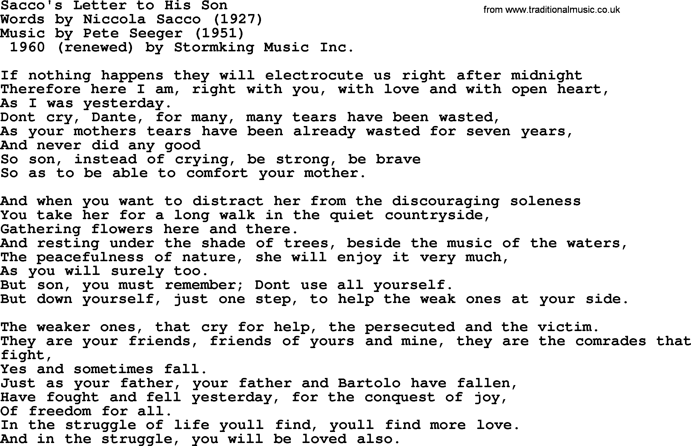 Pete Seeger song   Sacco's Letter to His Son lyrics