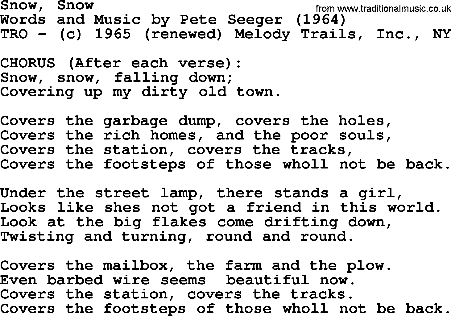 Pete seeger song snow snow lyrics hexwebz Image collections