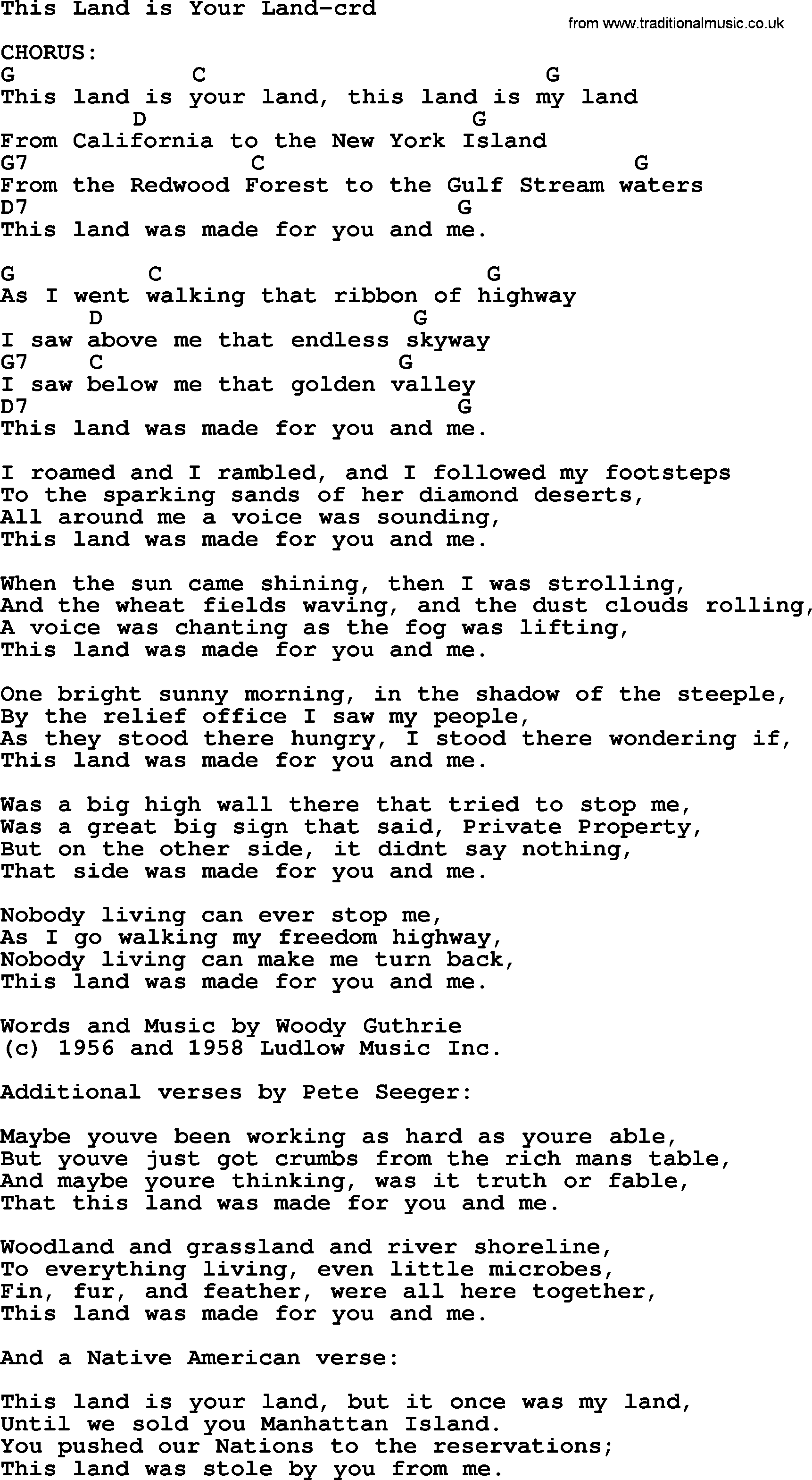 Pete seeger song this land is your land lyrics and chords pete seeger song this land is your land lyrics and chords hexwebz Images