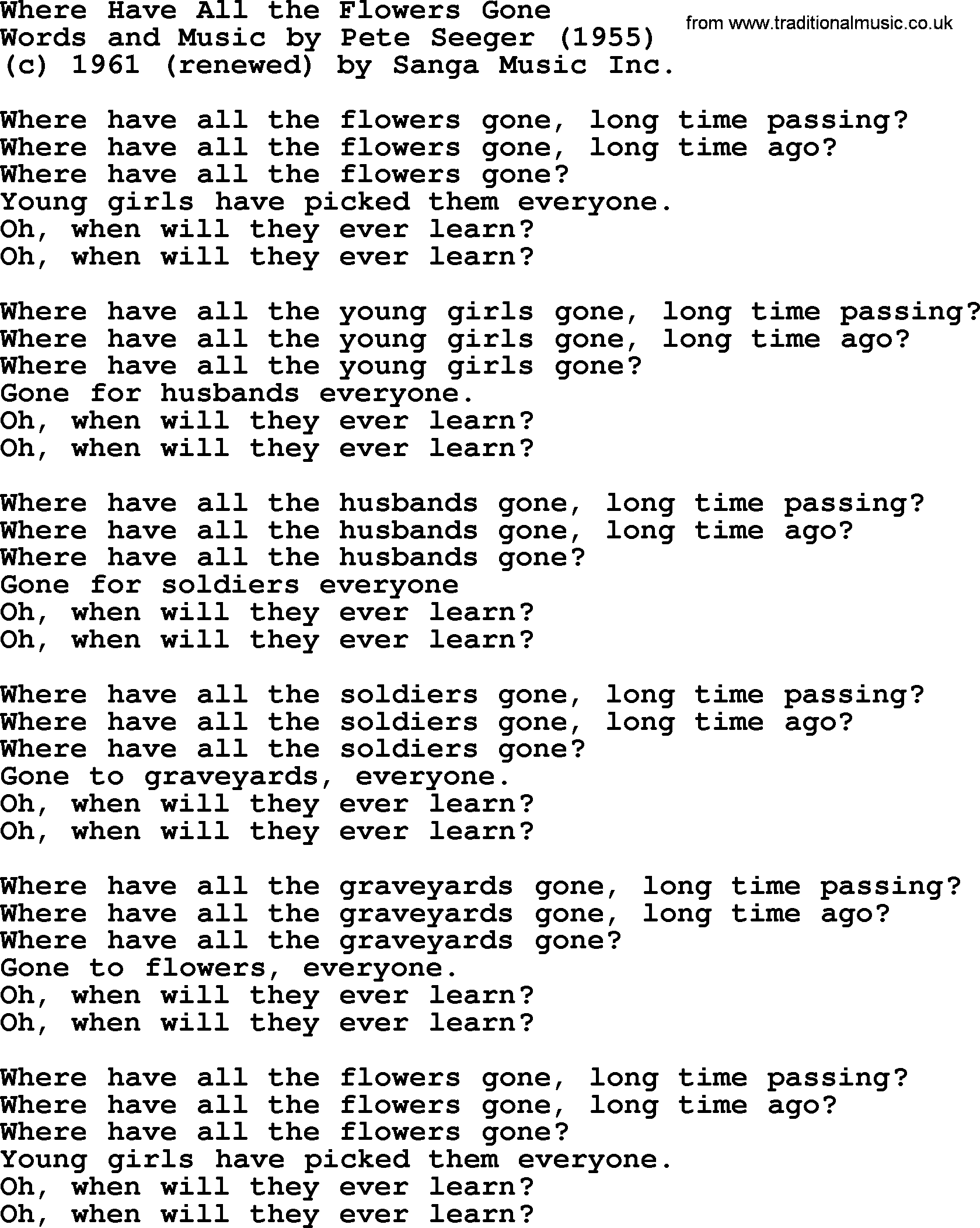 Pete Seeger Song Where Have All The Flowers Gone Lyrics