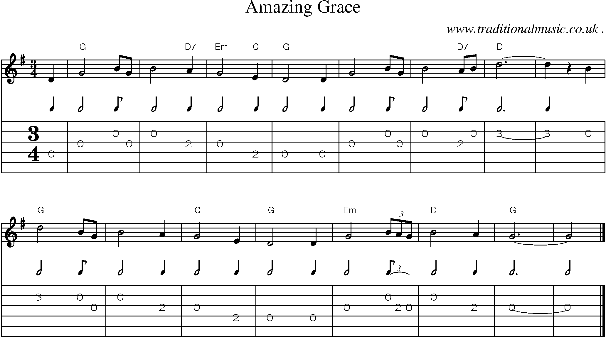 Common session tunes, Scores and Tabs for Guitar - Amazing Grace