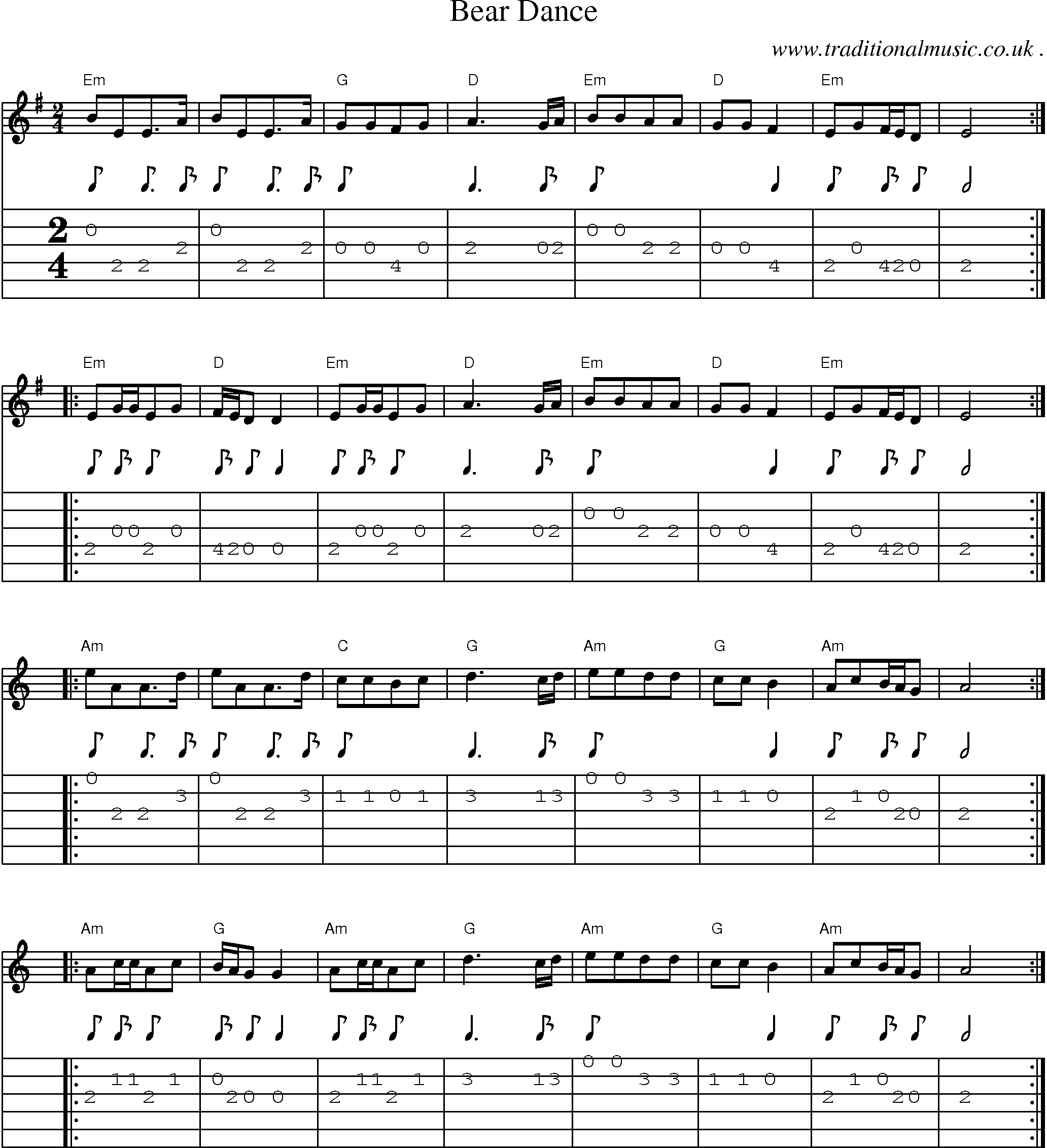Music Score And Guitar Tabs For Bear Dance