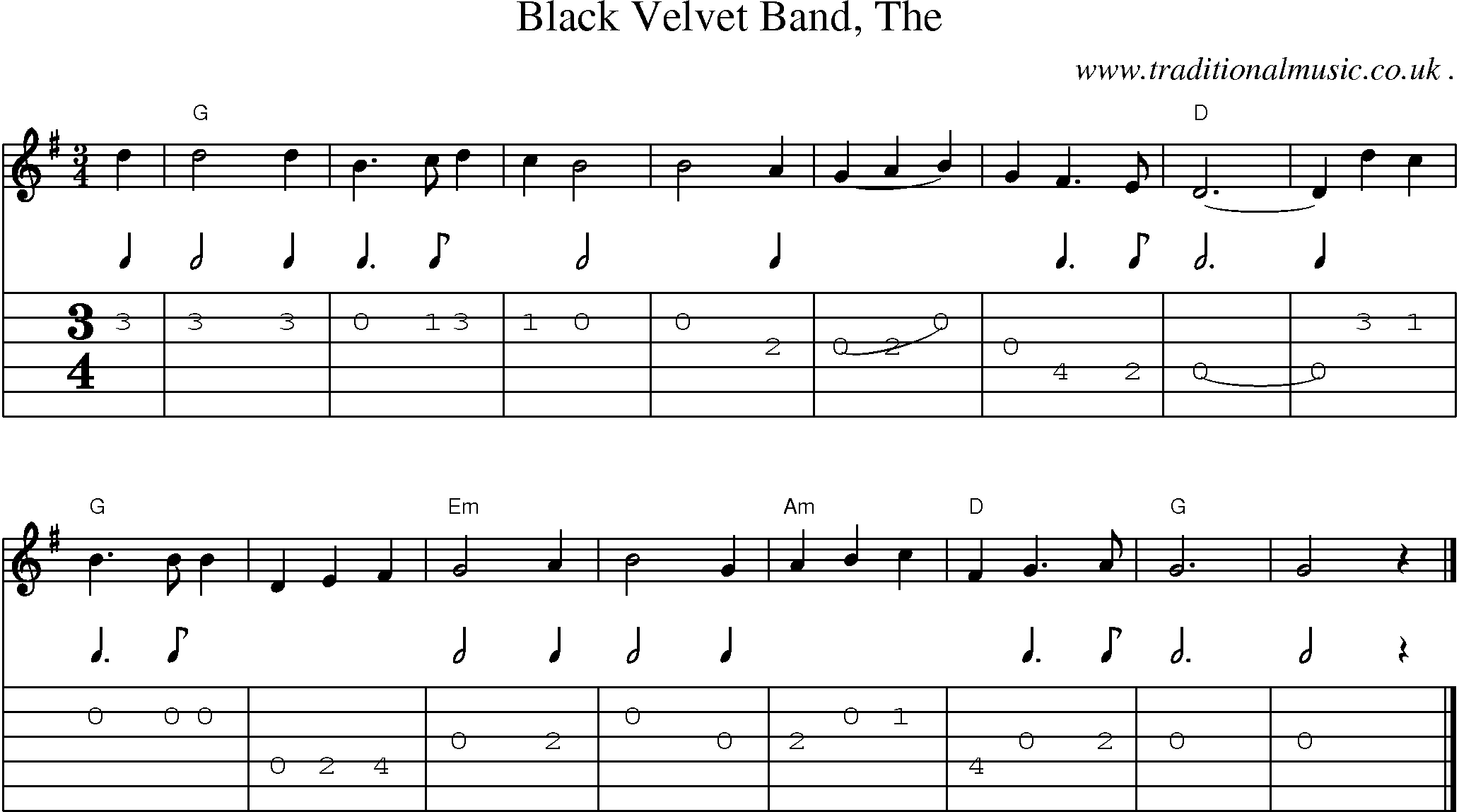 Common session tunes, Scores and Tabs for Guitar - Black Velvet Band The