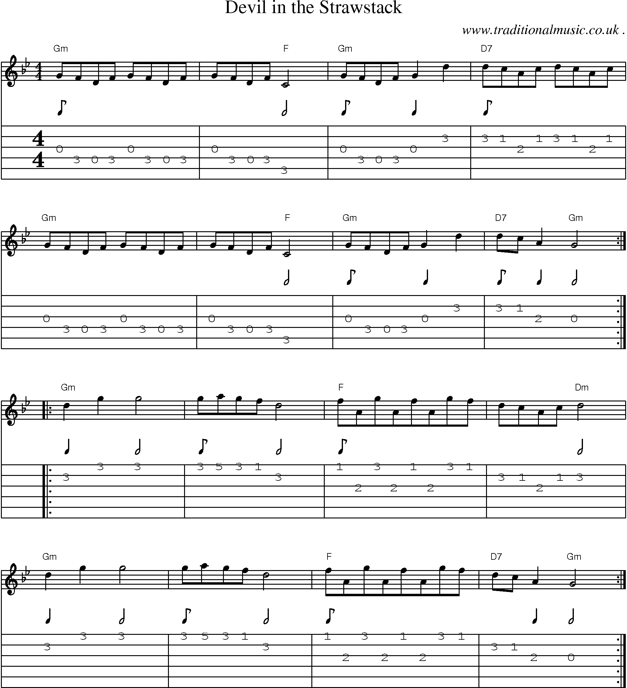 Common Session Tunes Scores And Tabs For Guitar Devil In The