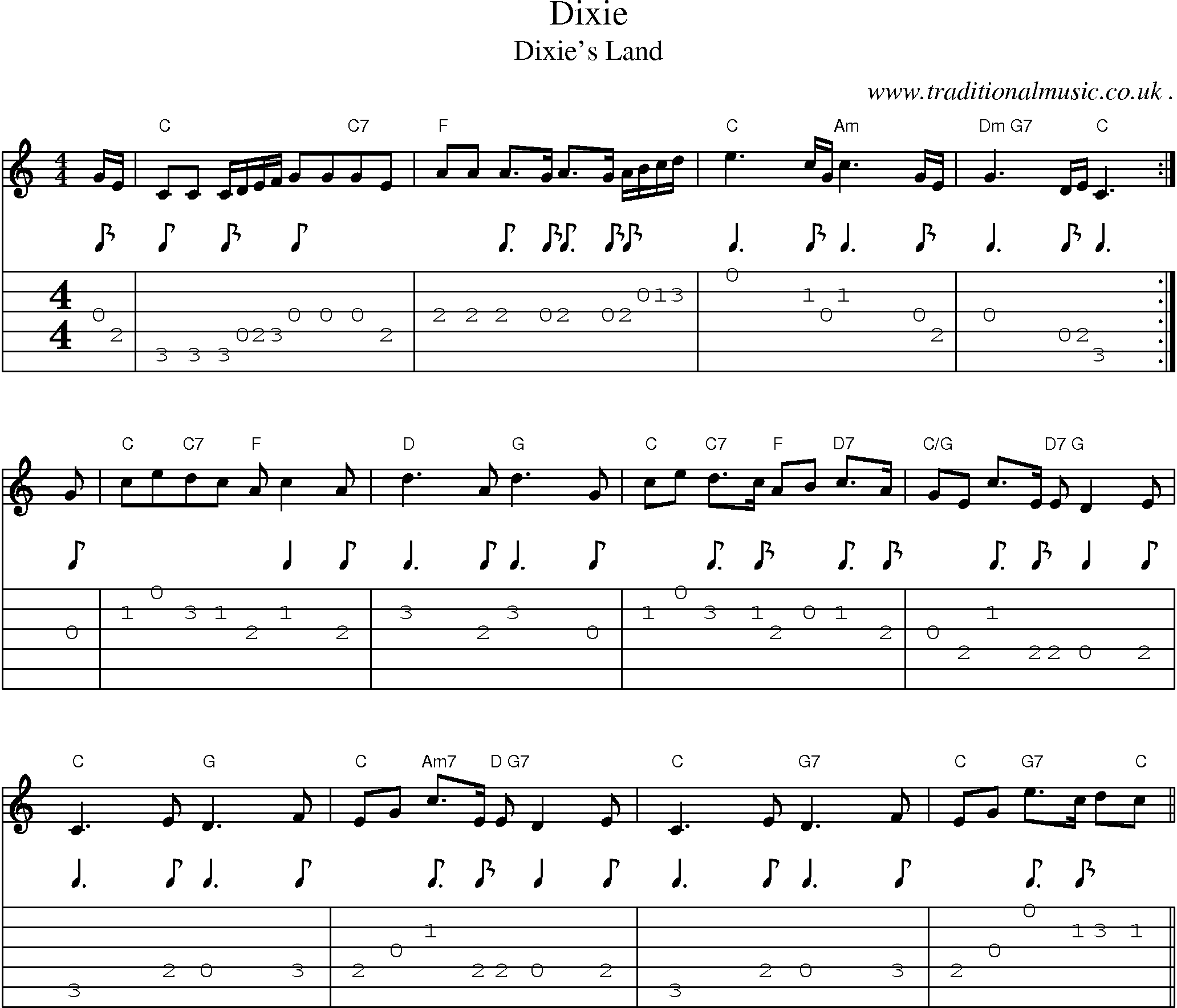 Common session tunes, Scores and Tabs for Guitar - Dixie