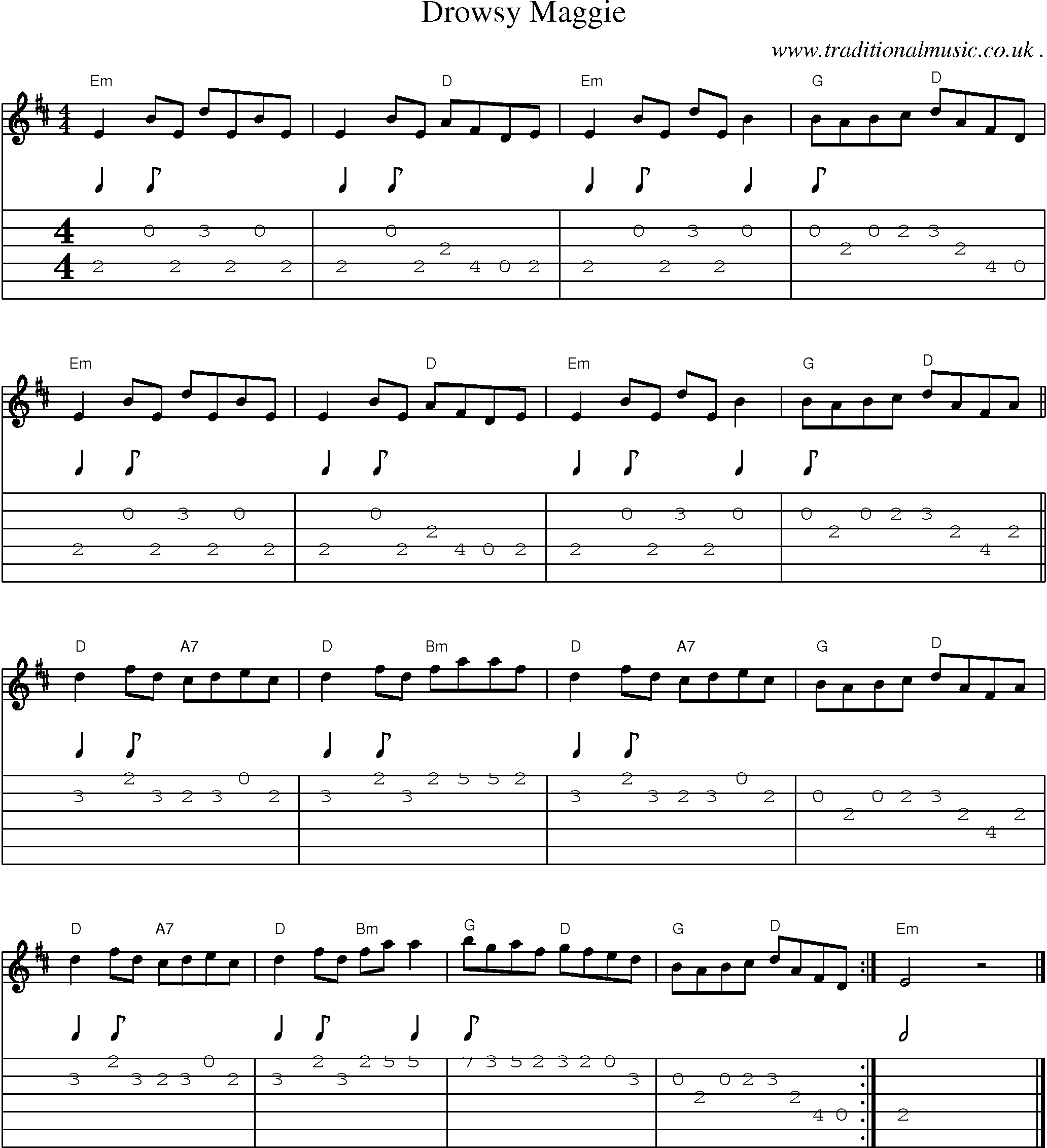 Common Session Tunes Scores And Tabs For Guitar Drowsy Maggie