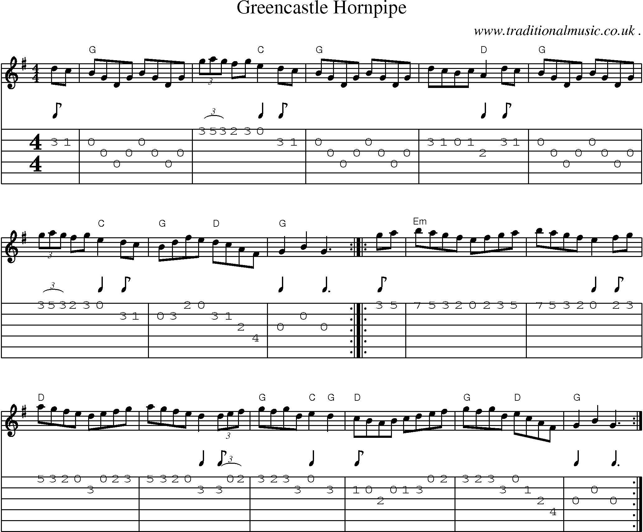 common session tunes, scores and tabs for guitar - greencastle