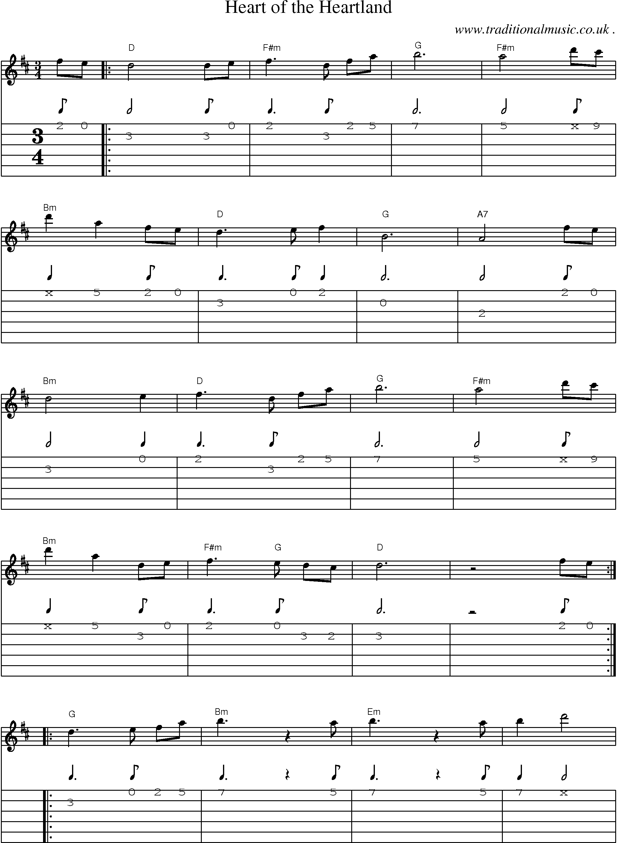 Common session tunes, Scores and Tabs for Guitar - Heart Of The ...