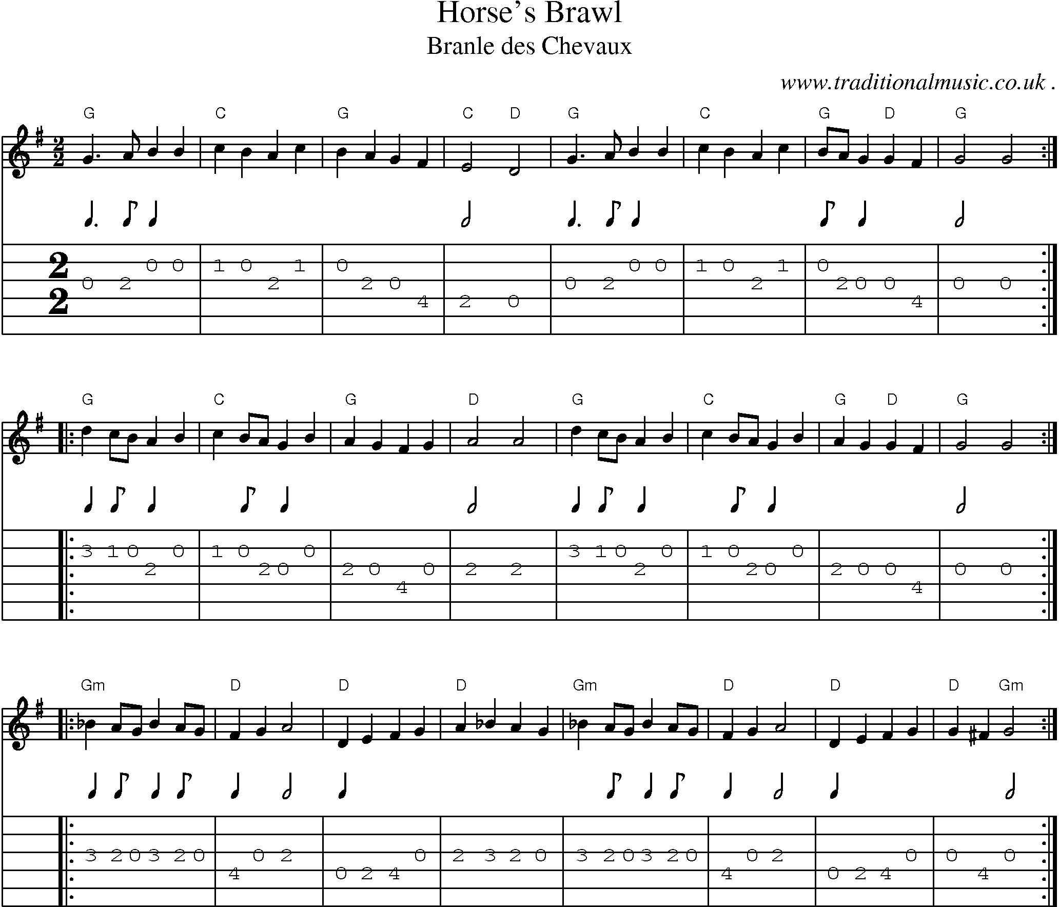 Common Session Tunes Scores And Tabs For Guitar Horses Brawl