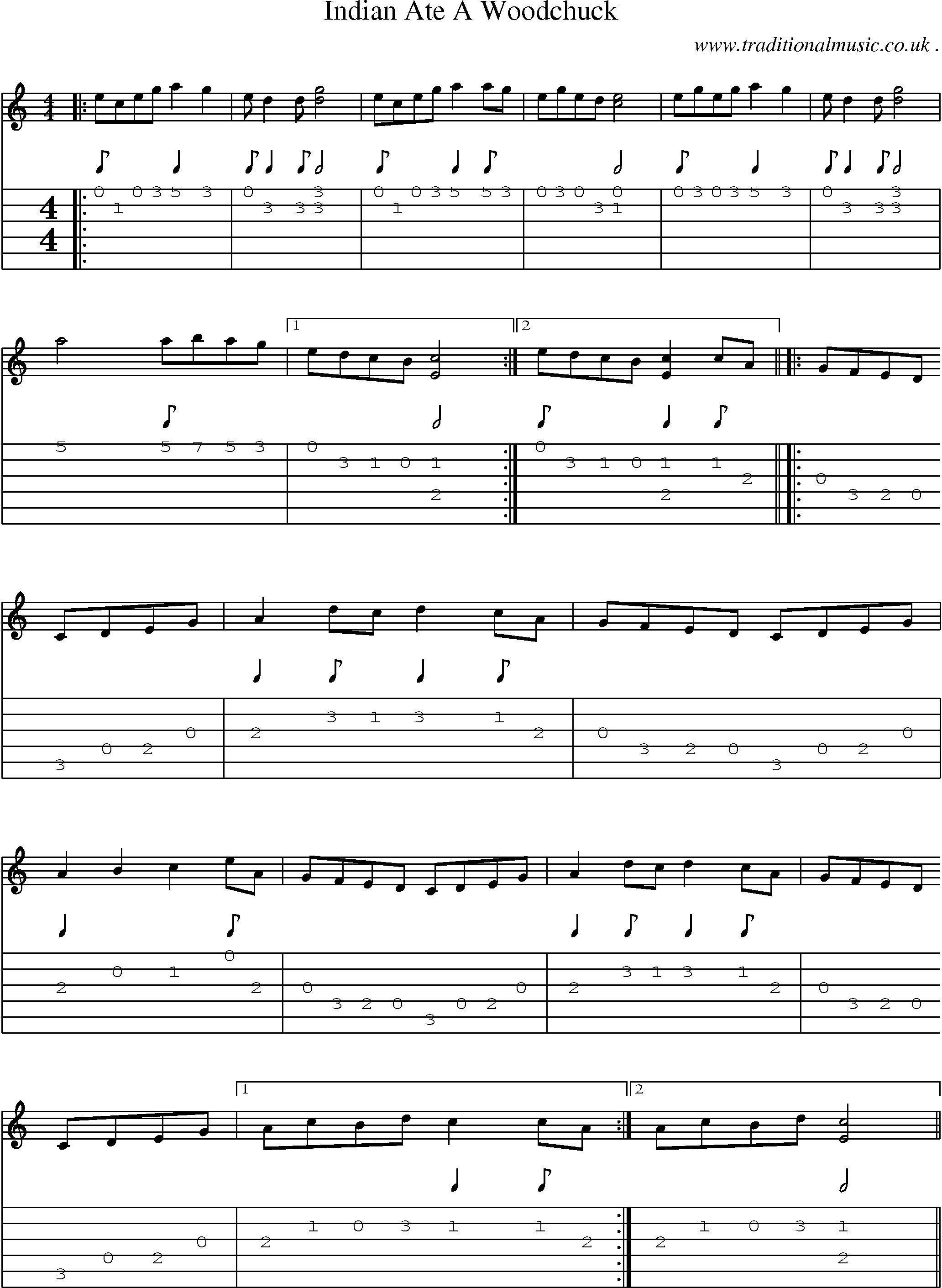 Common Session Tunes Scores And Tabs For Guitar Indian Ate A