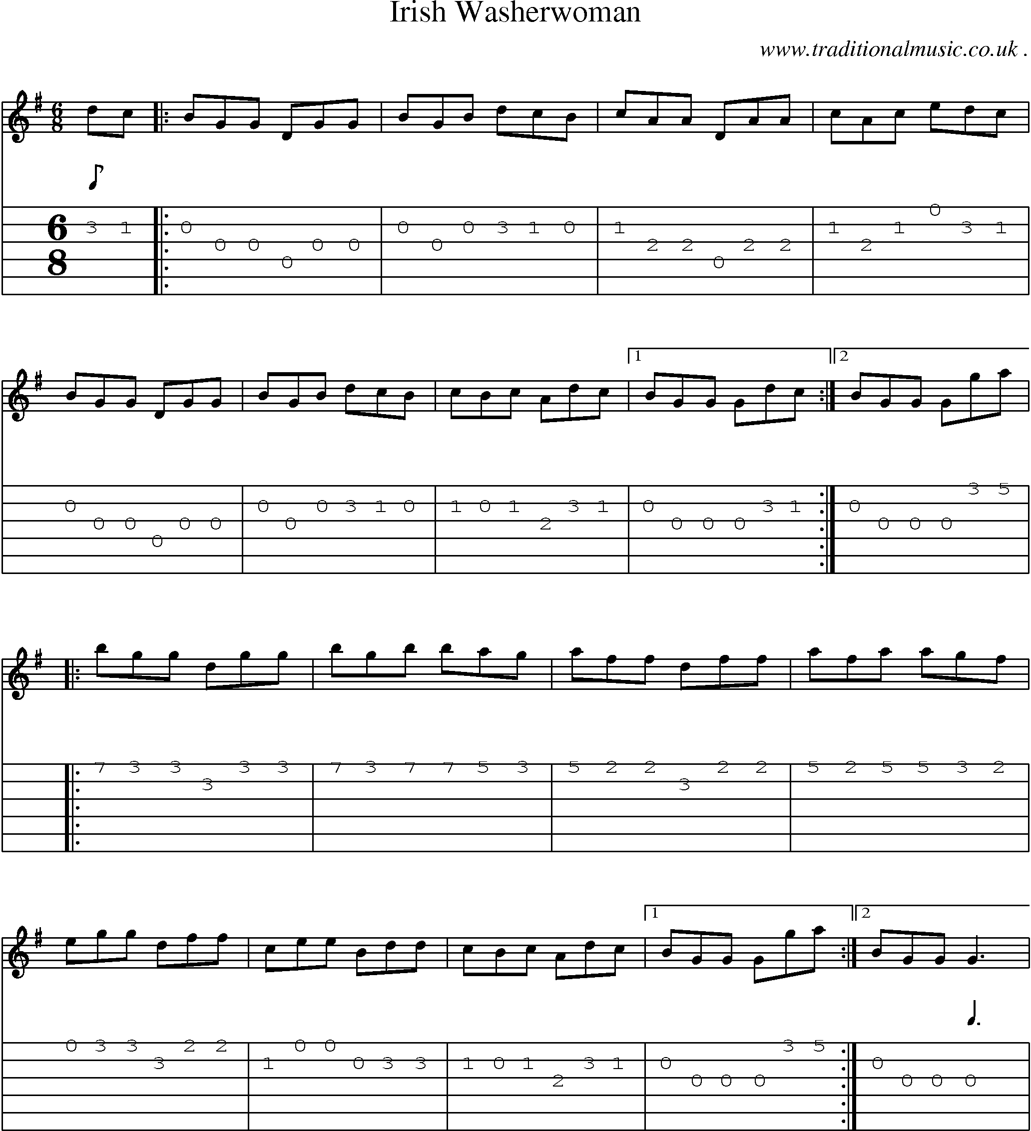 Common session tunes scores and tabs for guitar irish