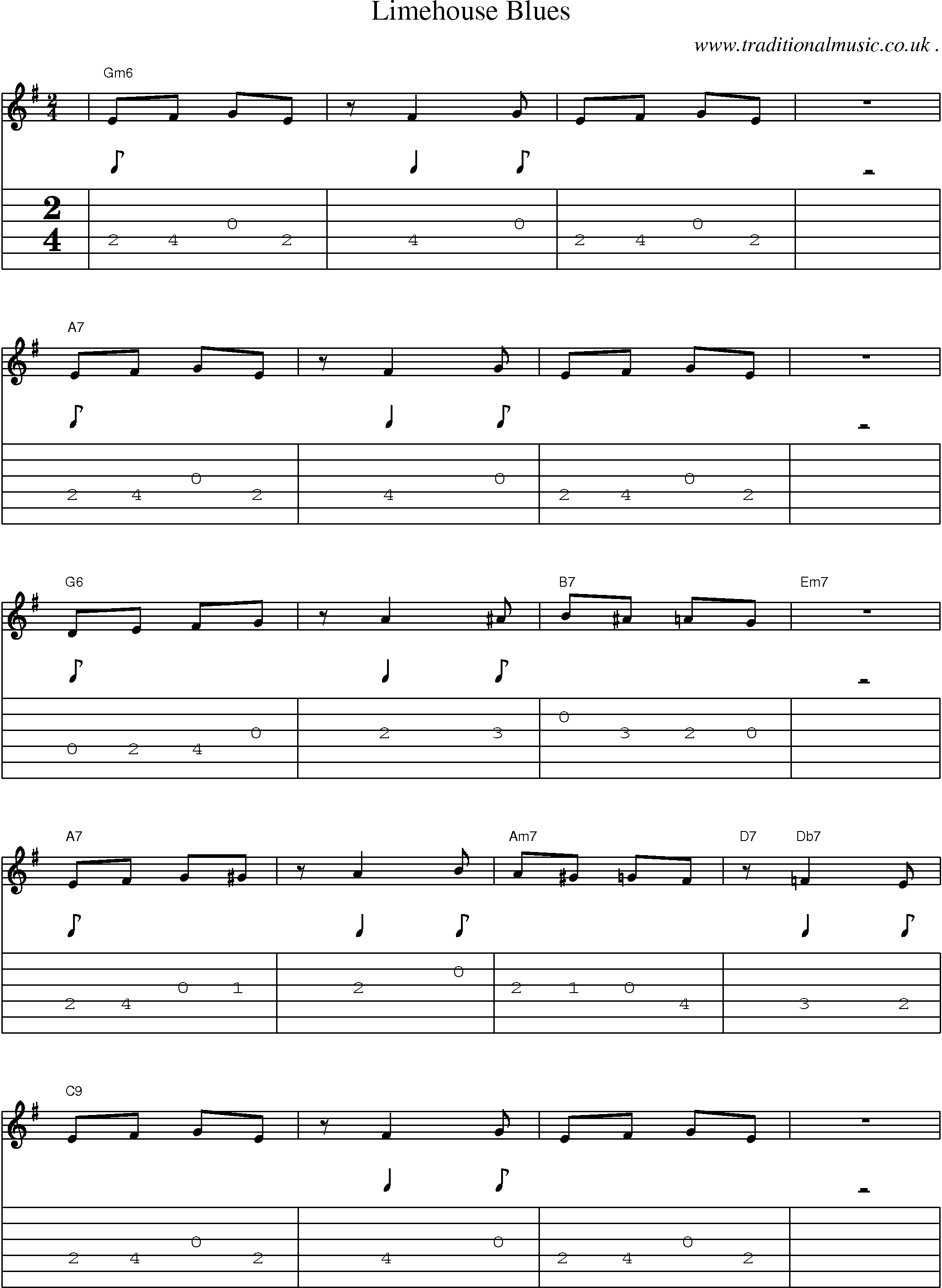 Common session tunes, Scores and Tabs for Guitar - Limehouse Blues