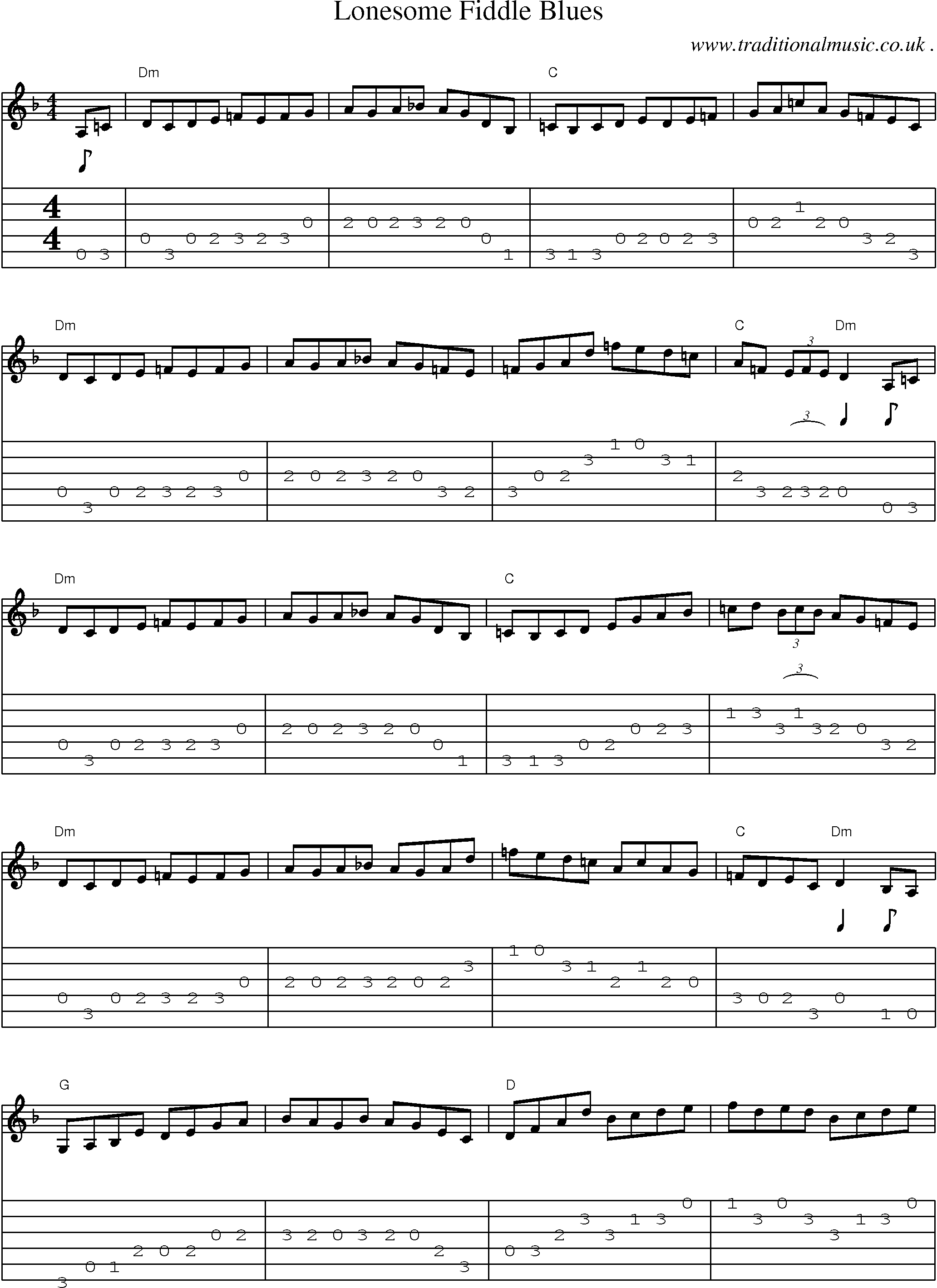 Common session tunes, Scores and Tabs for Guitar - Lonesome Fiddle Blues