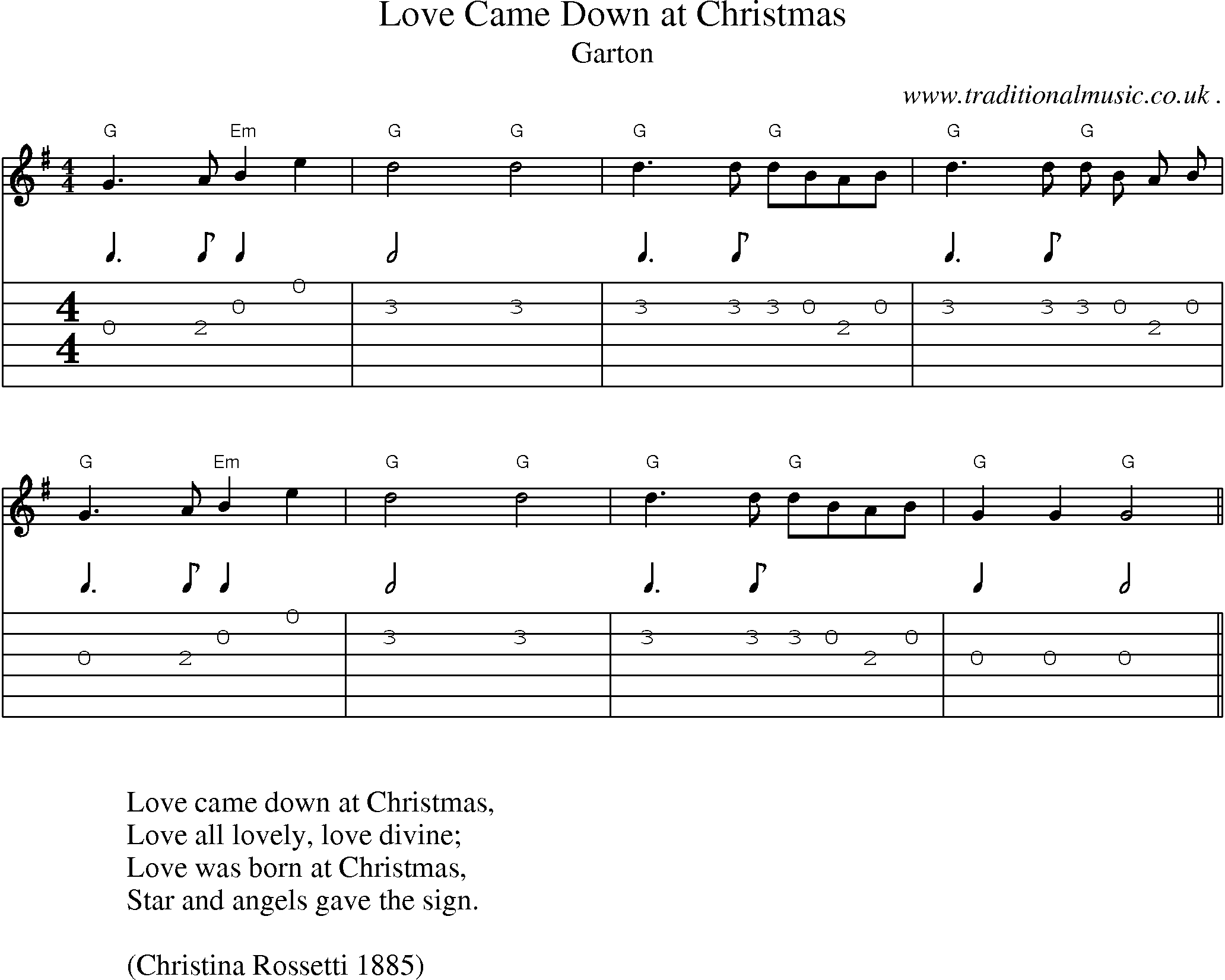 Christmas Guitar Tabs.Common Session Tunes Scores And Tabs For Guitar Love Came
