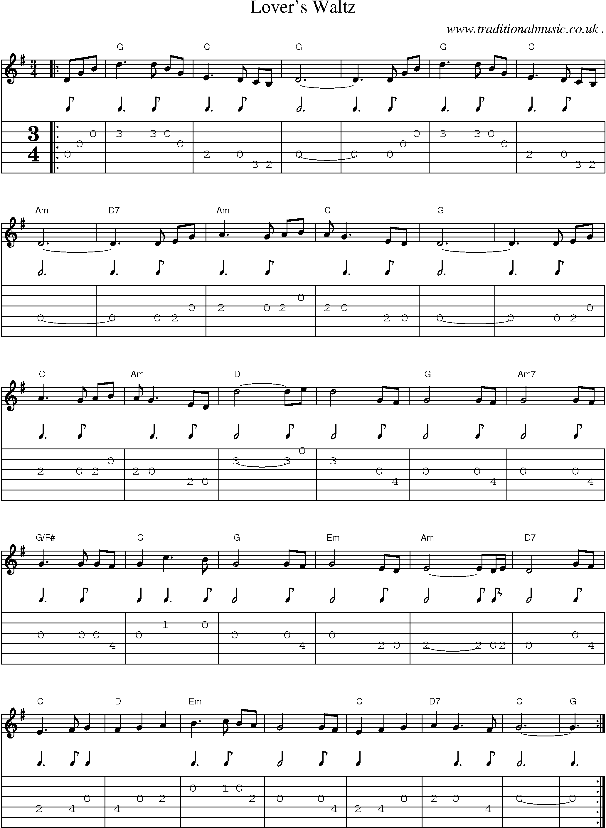 Common session tunes, Scores and Tabs for Guitar - Lovers Waltz