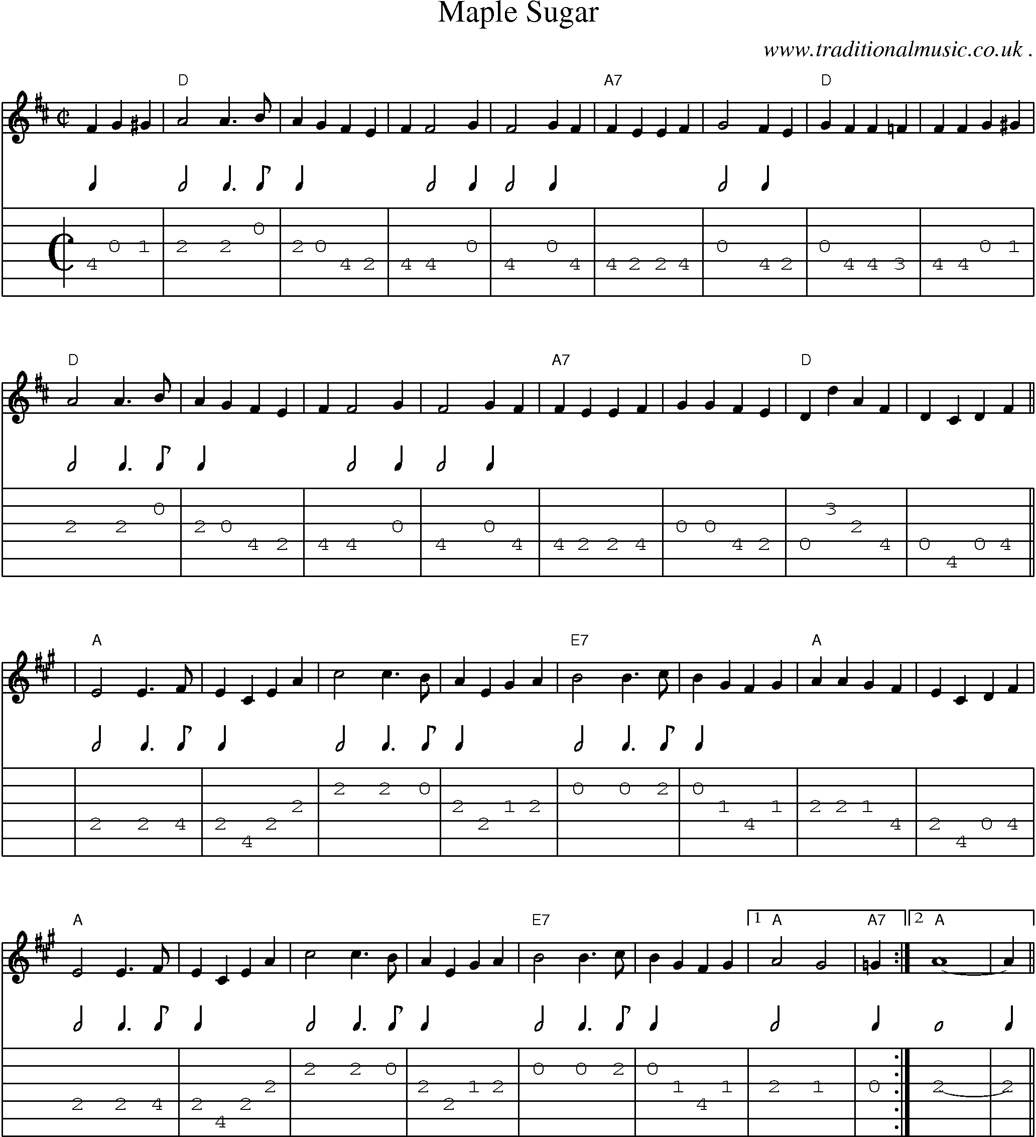 Common Session Tunes Scores And Tabs For Guitar Maple Sugar