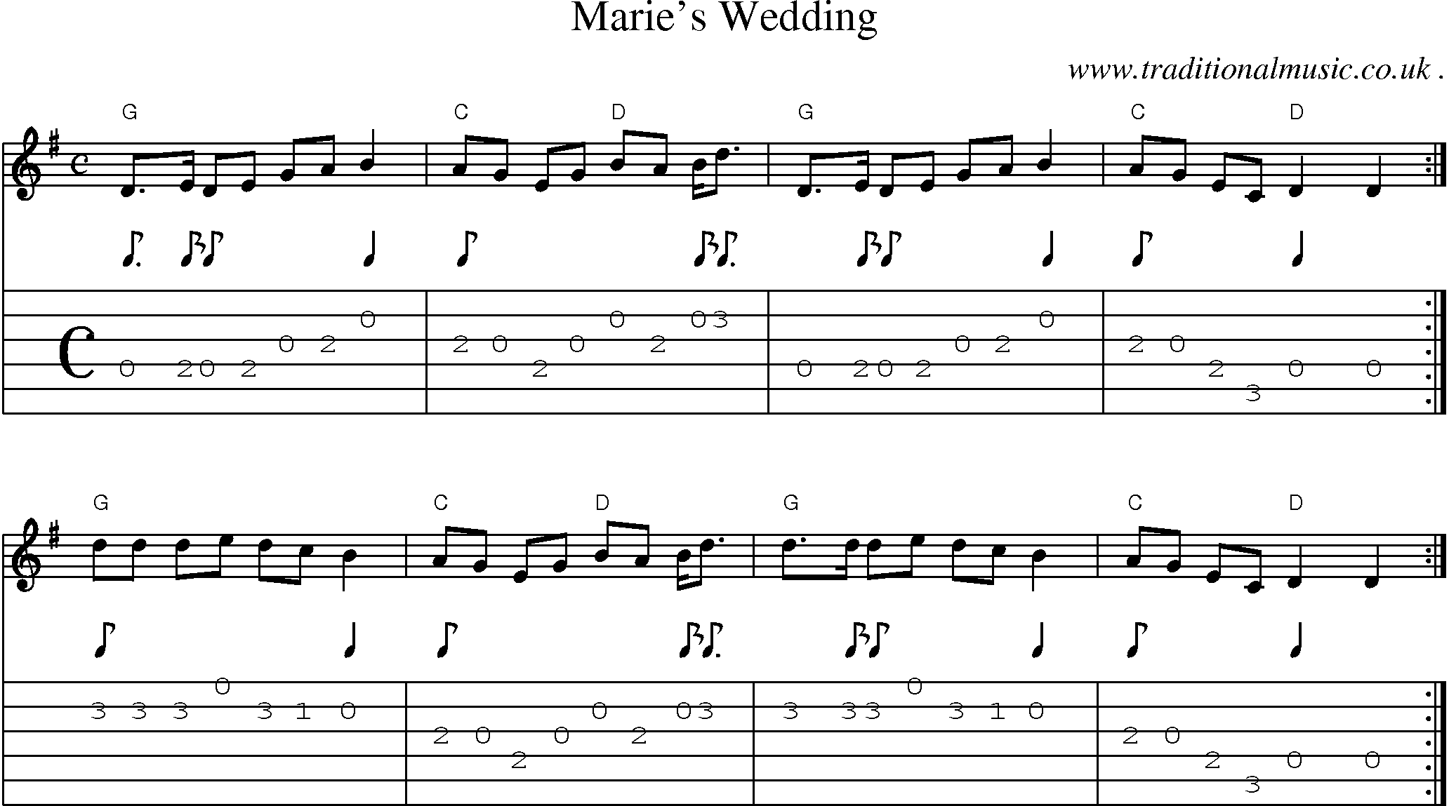 Common session tunes scores and tabs for guitar maries wedding